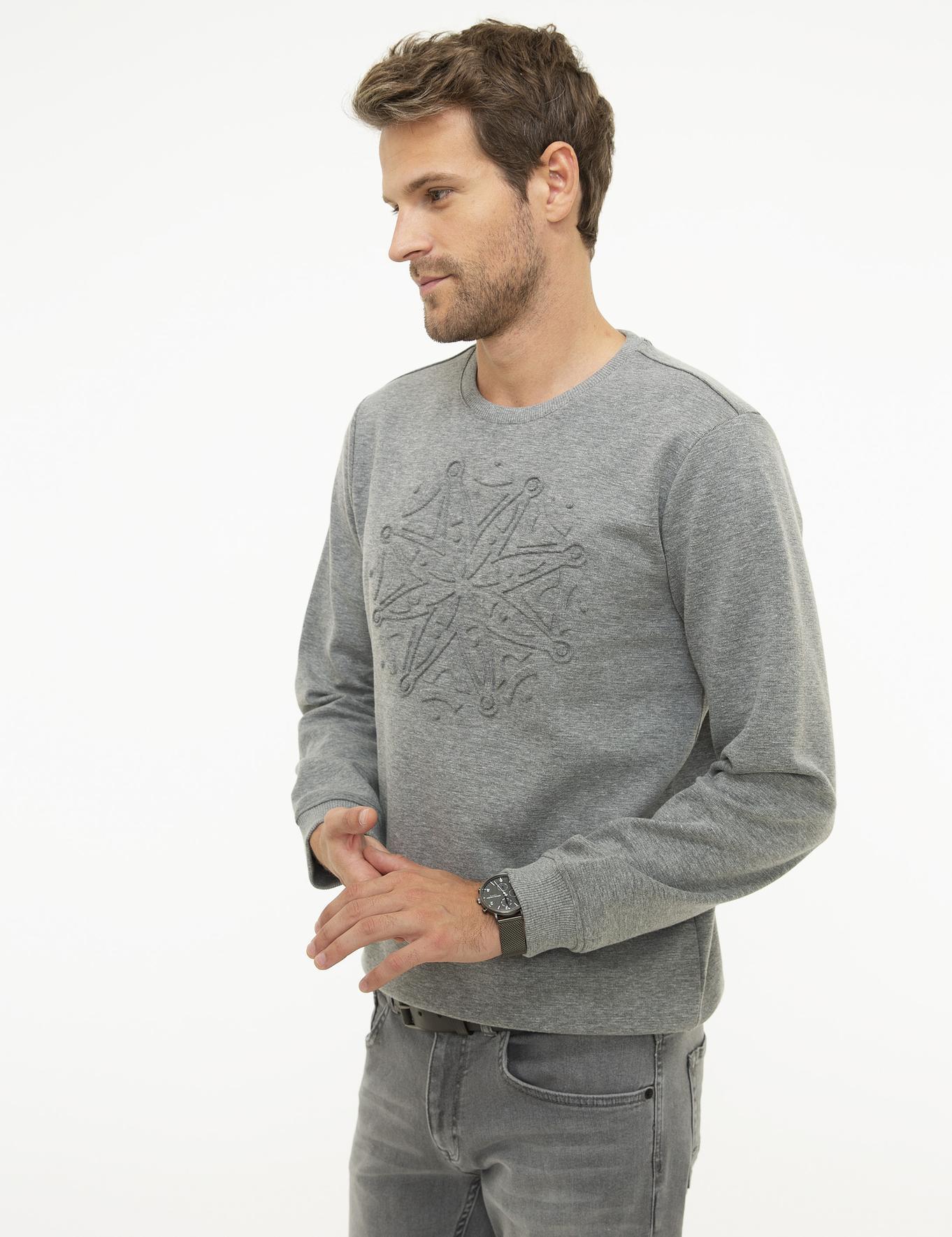 Koyu Gri Melanj Regular Fit Sweatshirt