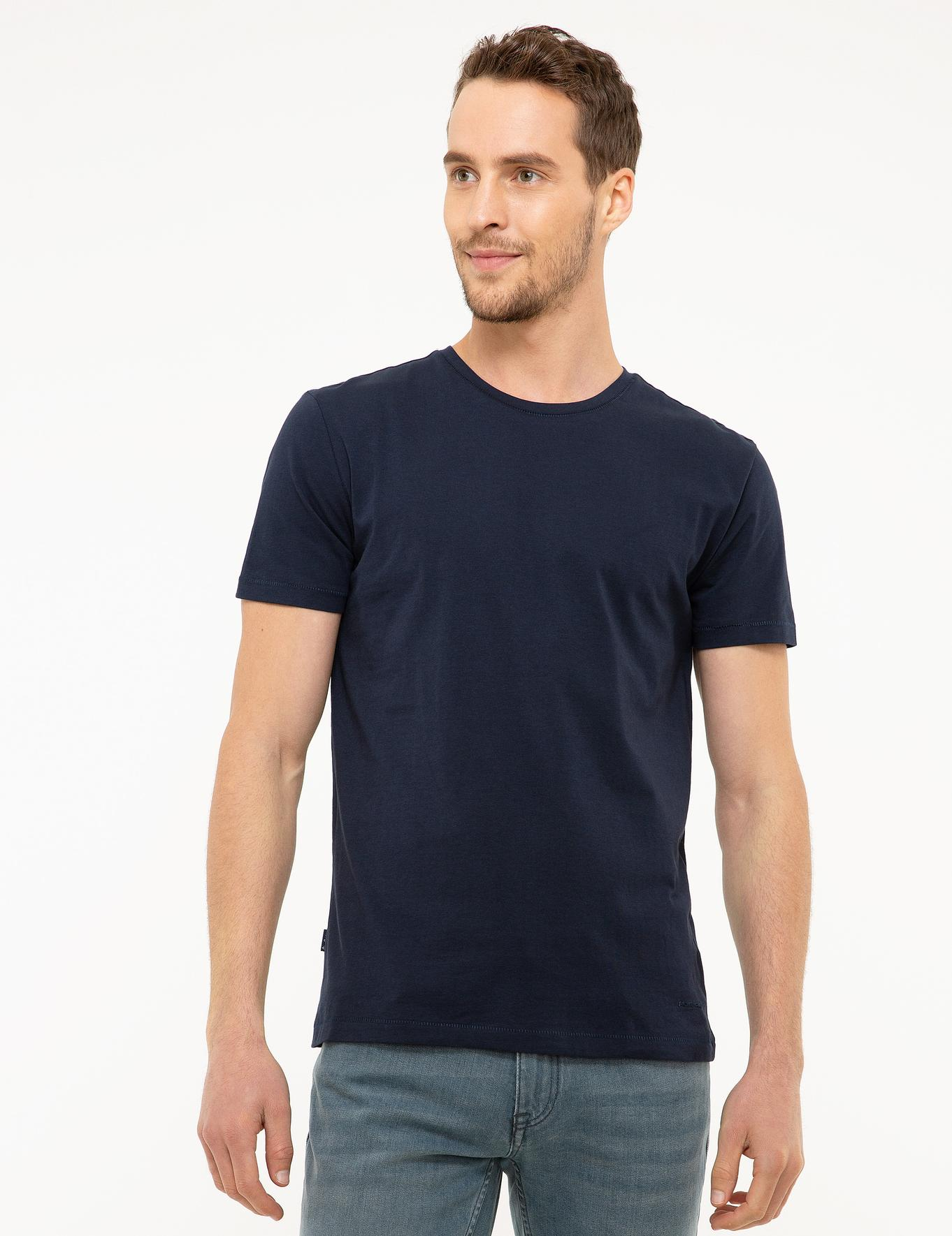 Lacivert Slim Fit Bisiklet Yaka Basic T-Shirt