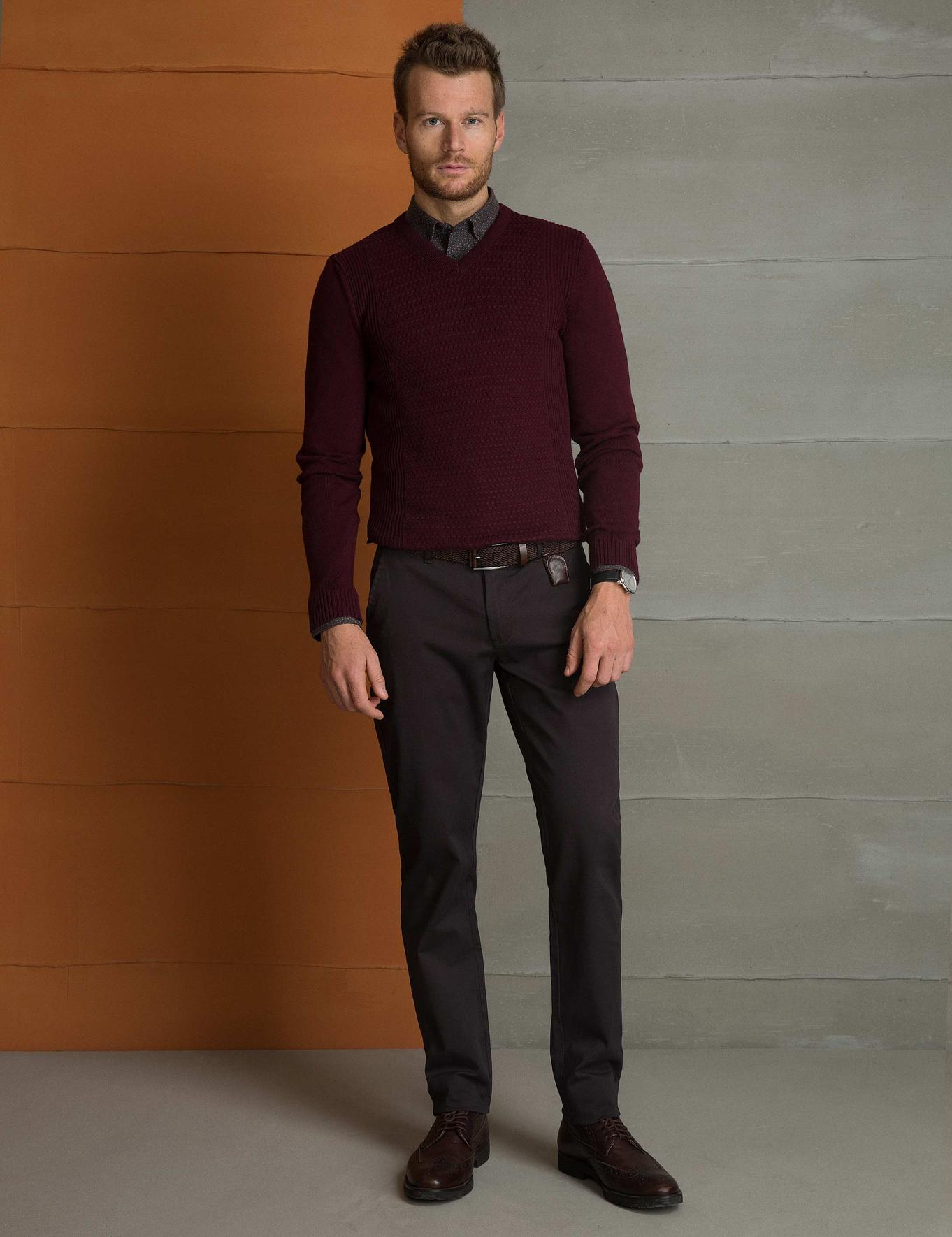 Bordo Slim Fit V Yaka Triko Kazak
