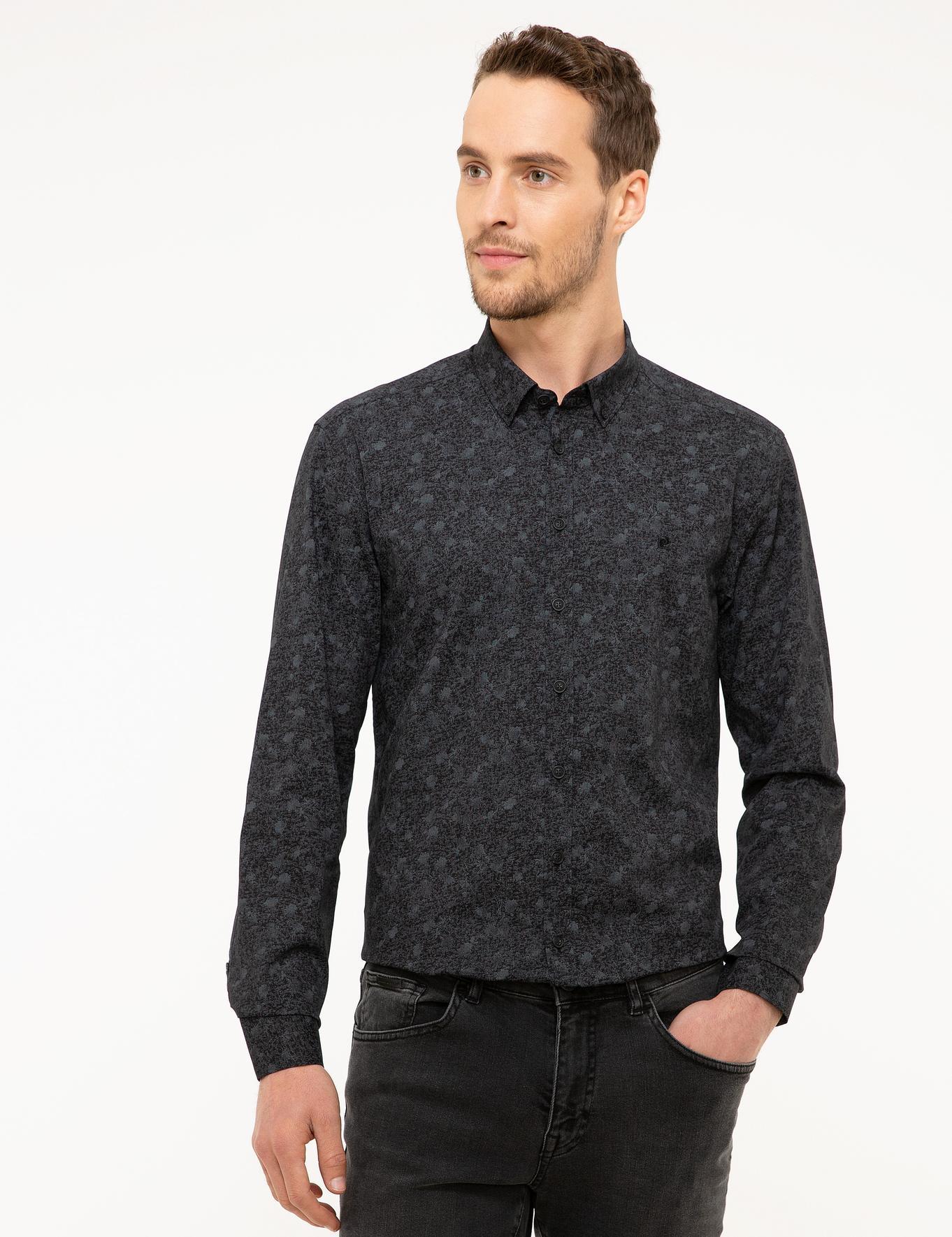 Gri Detaylı Koyu Lacivert Slim Fit Gömlek