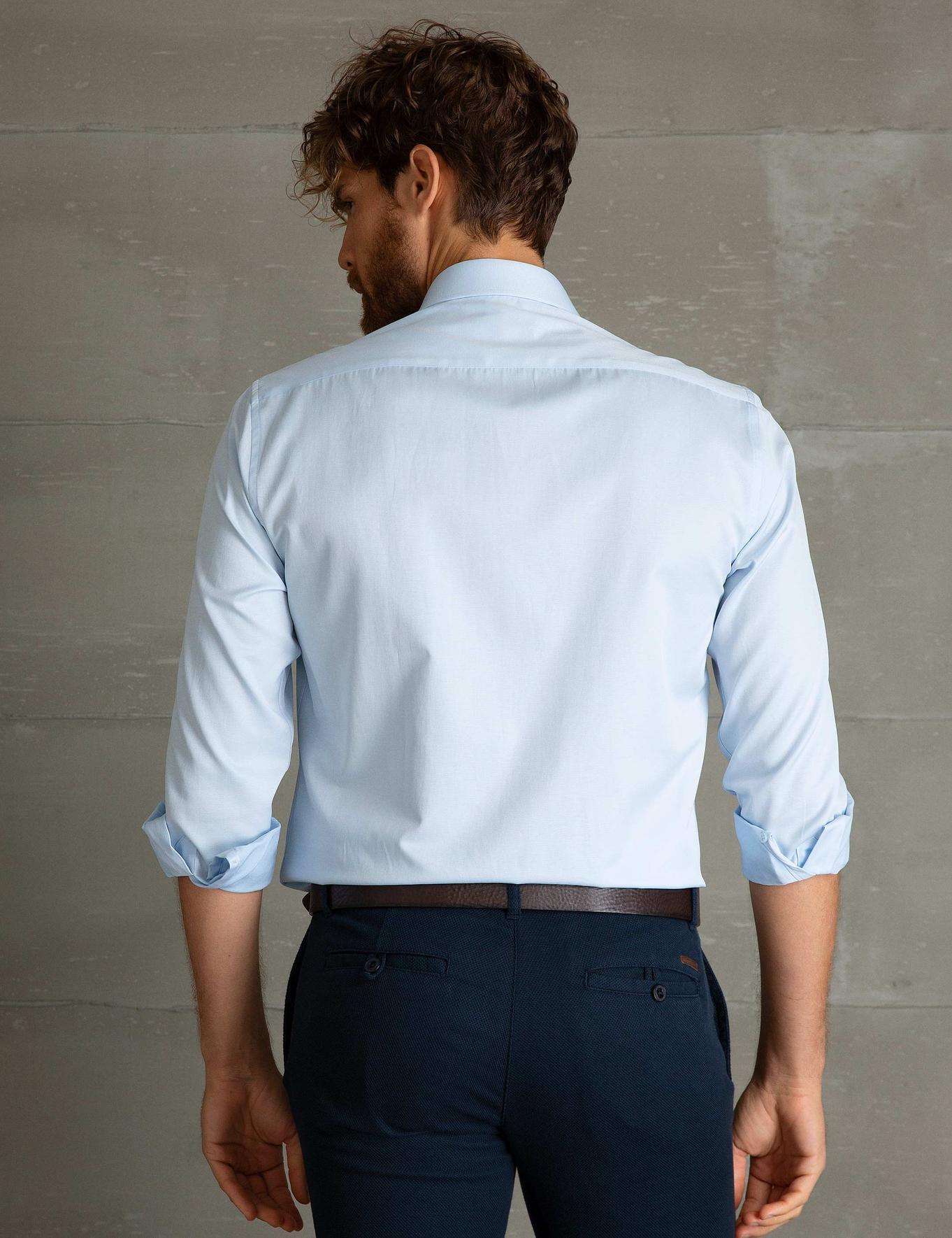 Açık Mavi Slim Fit Basic Gömlek