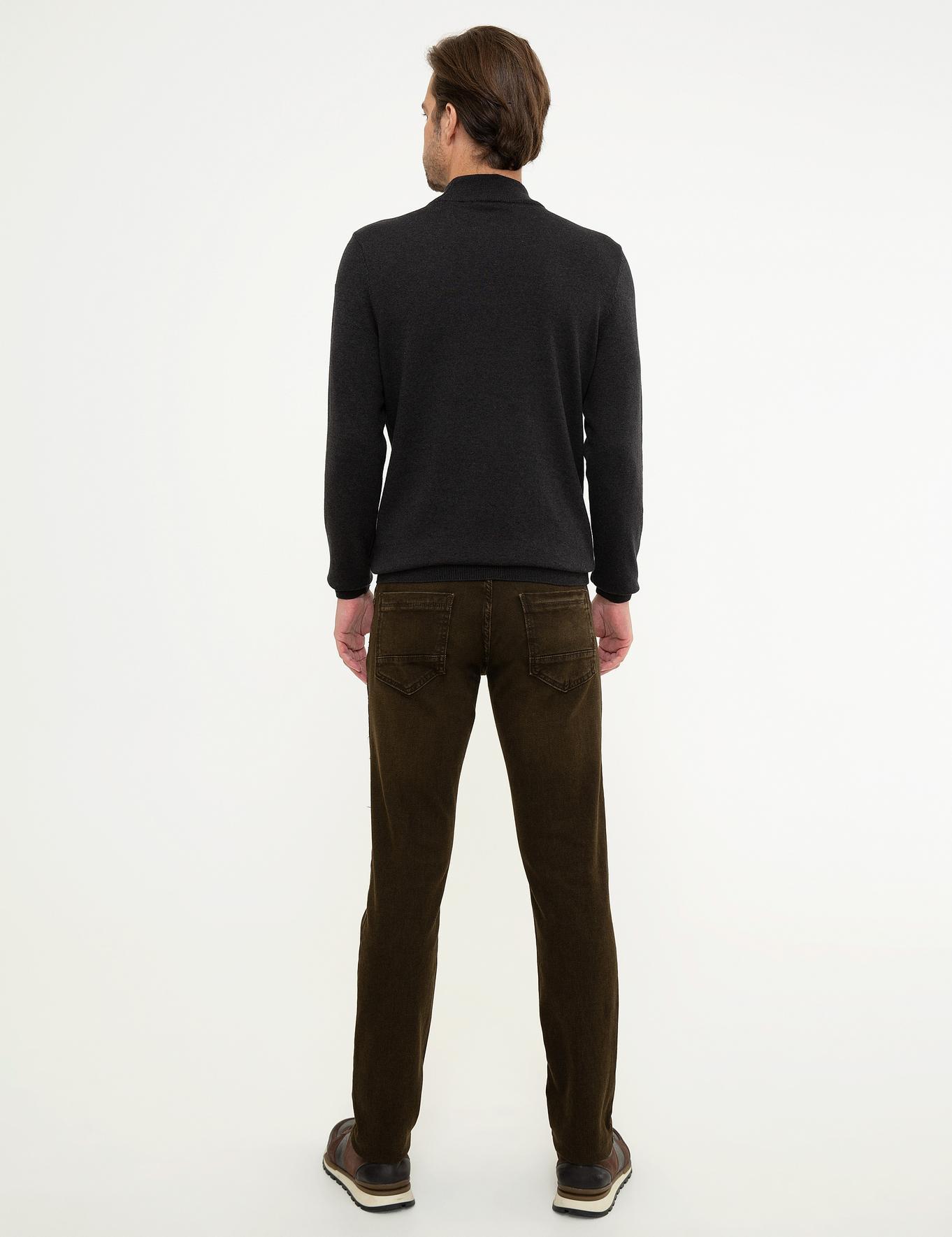 Kahverengi Slim Fit Denim Pantolon