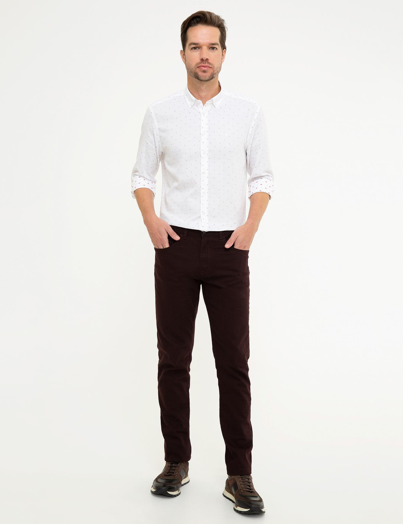 Bordo Slim Fit Denim Pantolon