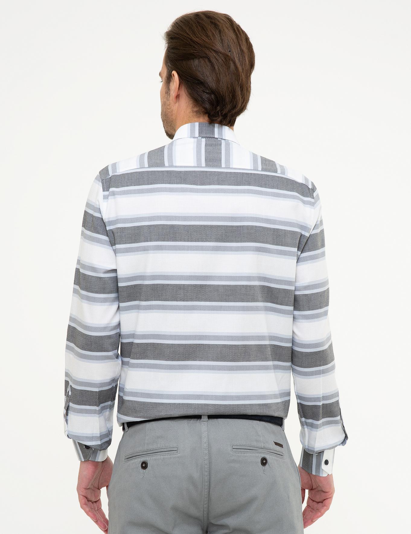 Mavi Detaylı Slim Fit Gömlek