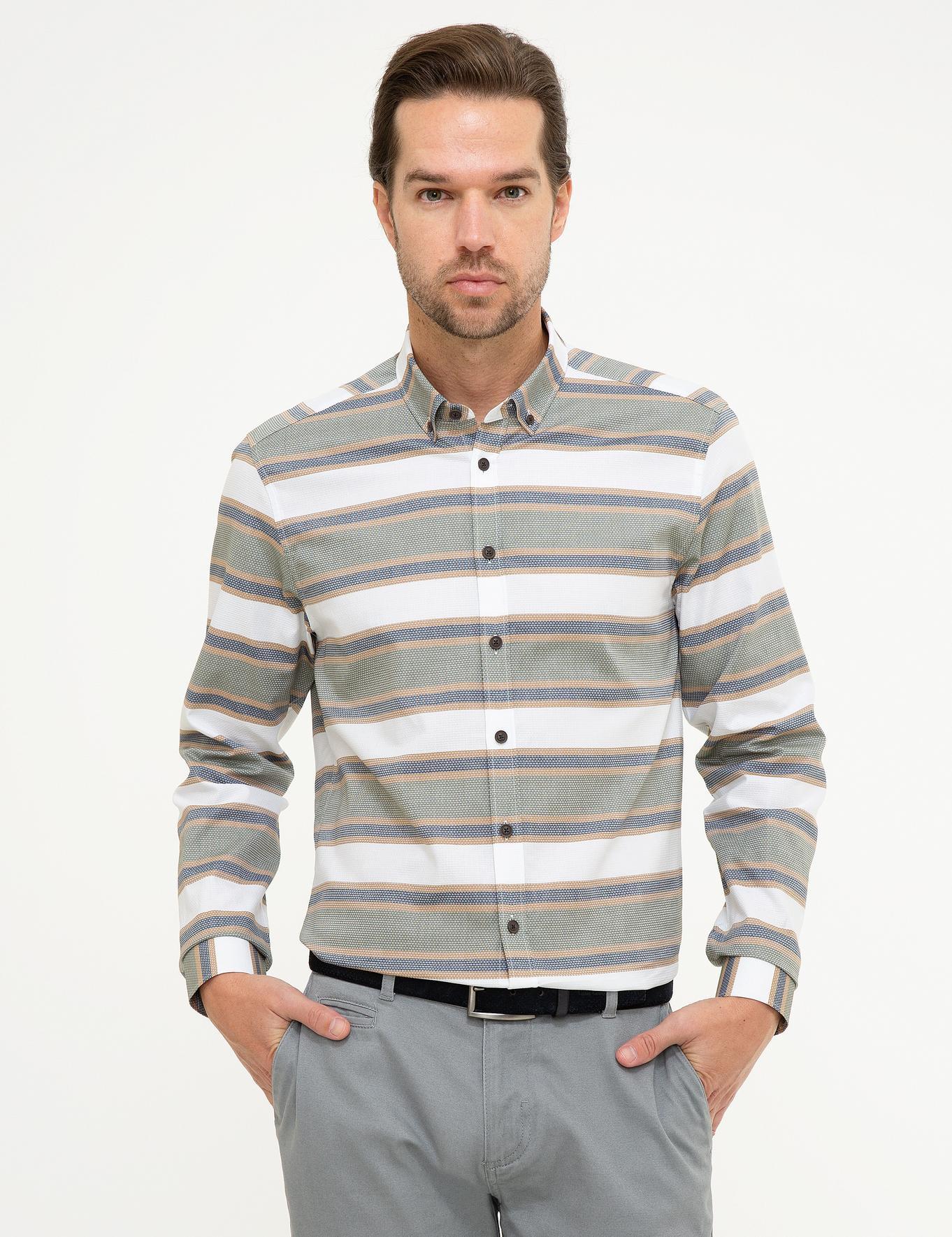 Yeşil Detaylı Slim Fit Gömlek