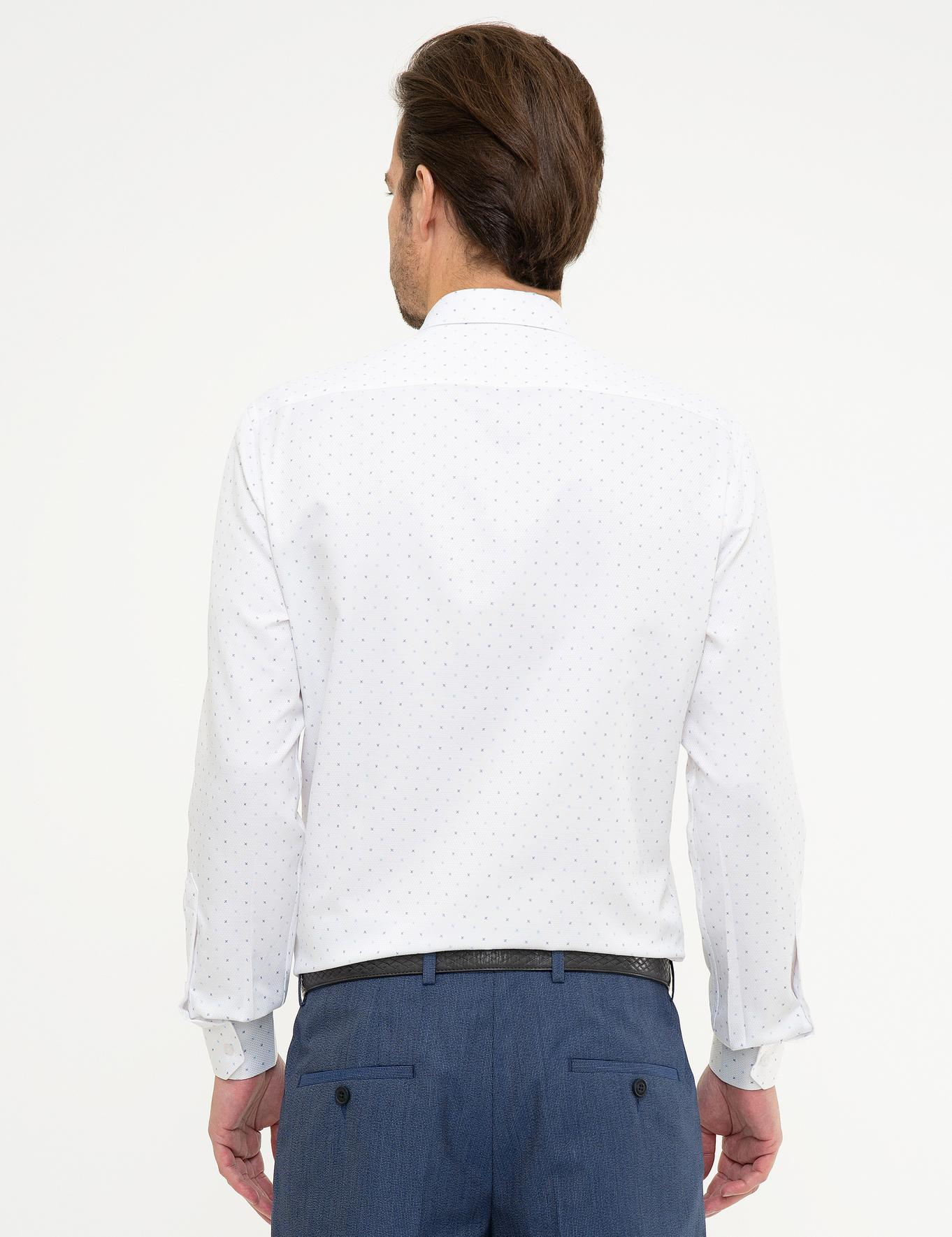 Lacivert Detaylı Beyaz Slim Fit Gömlek