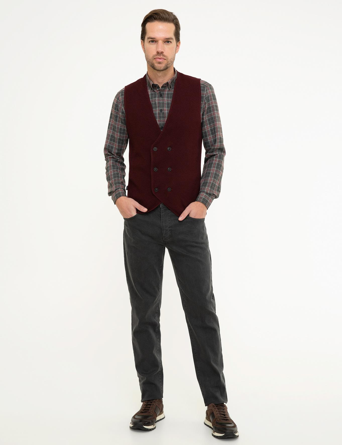 Bordo Slim Fit Triko Yelek