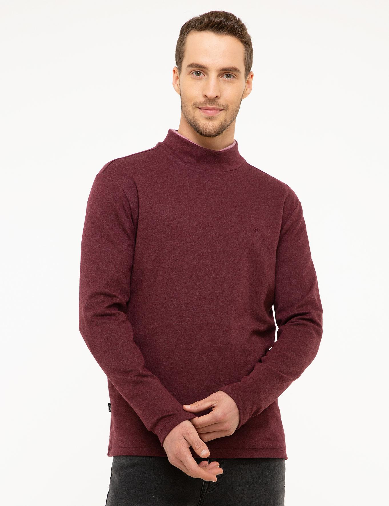 Bordo Slim Fit Yarım Balıkçı Yaka Sweatshirt