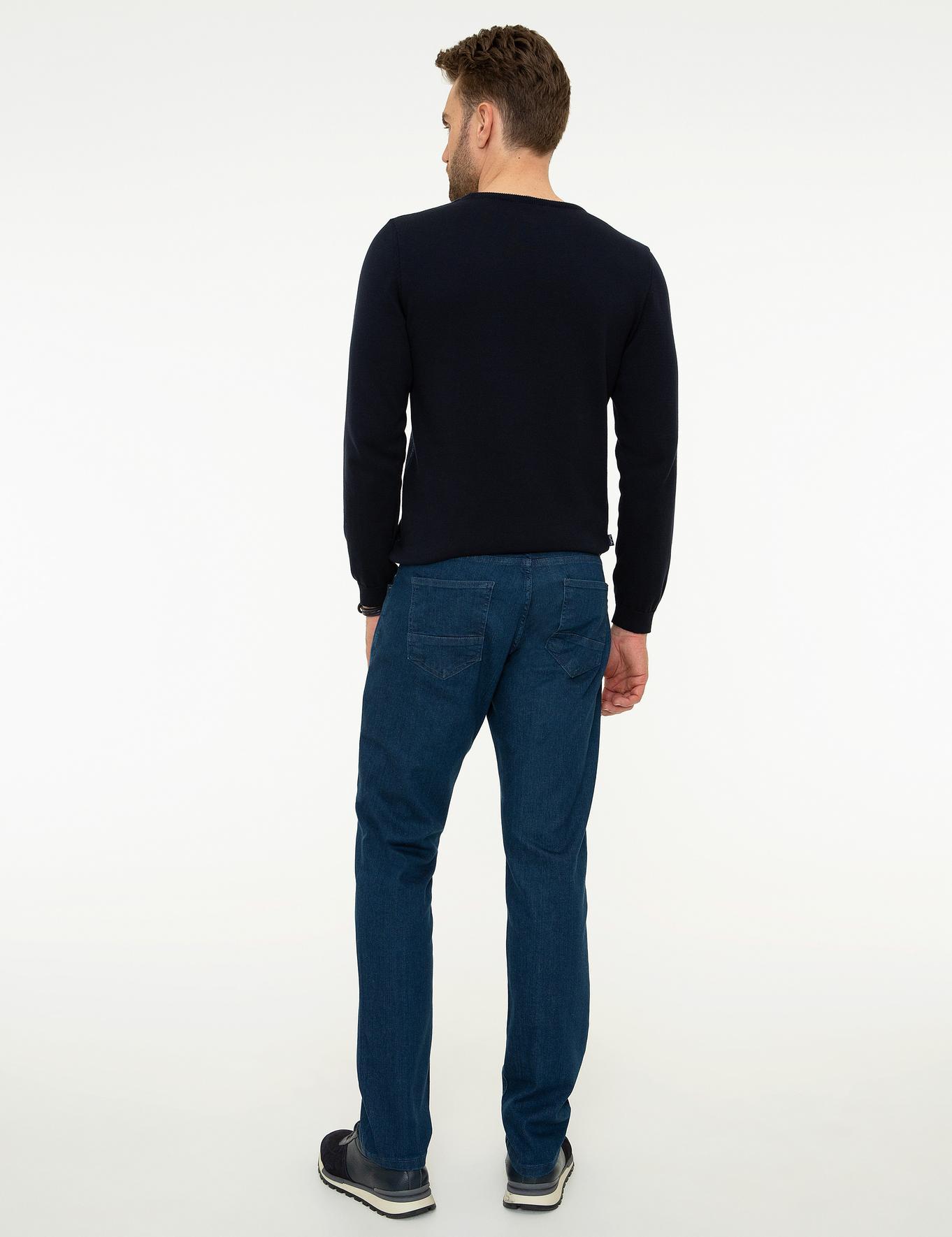 Koyu Mavi Slim Fit Denim Pantolon