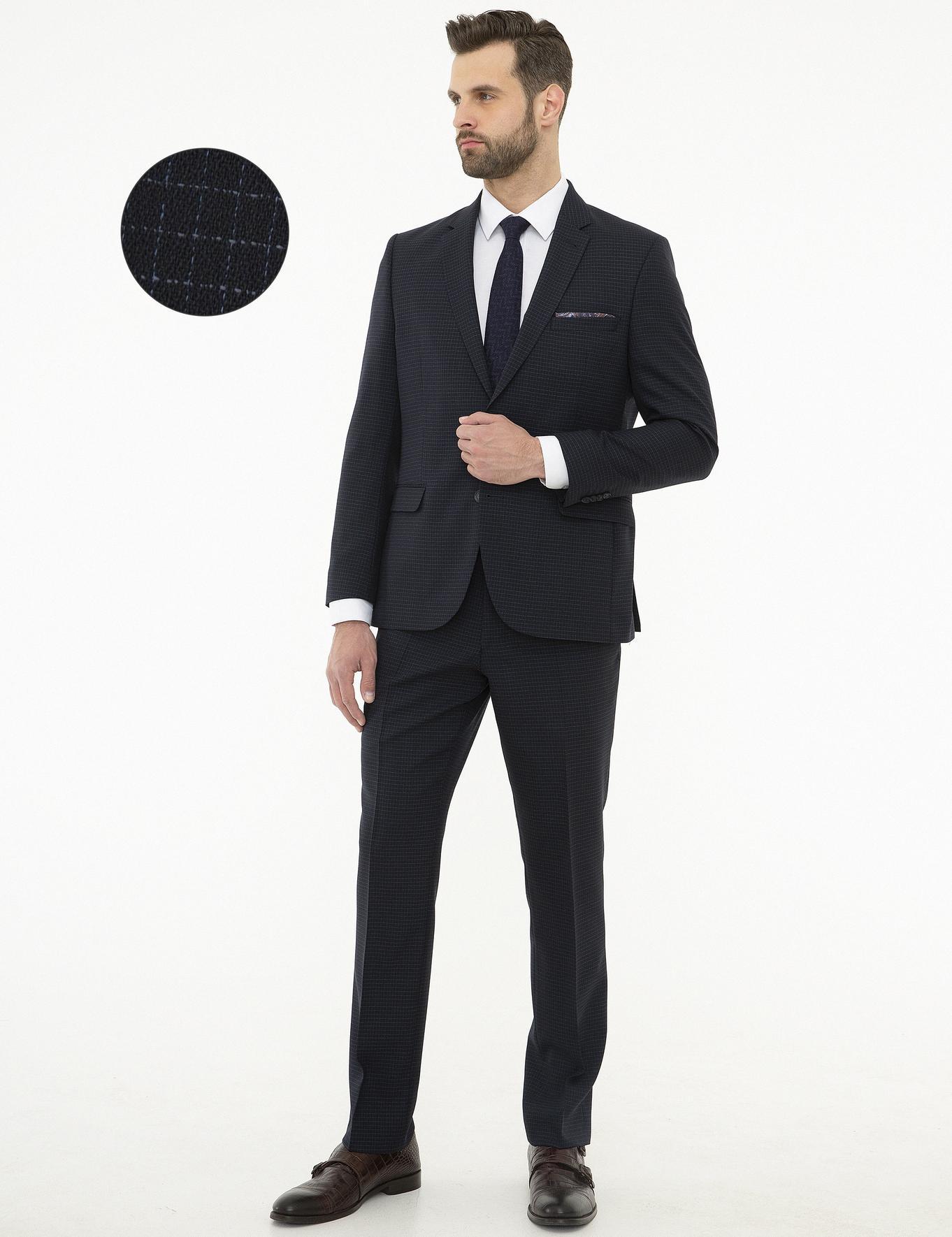 Ekose Lacivert Slim Fit Takım Elbise