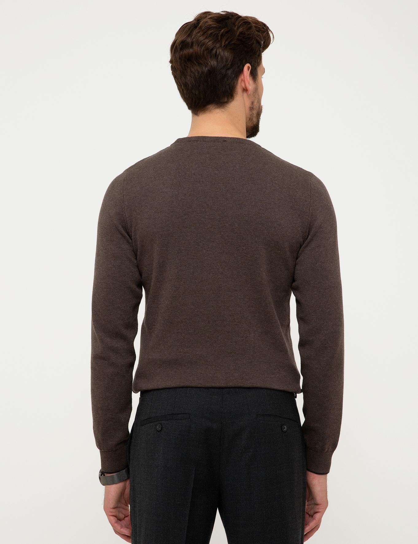 Kahverengi Slim Fit Basic Triko Kazak