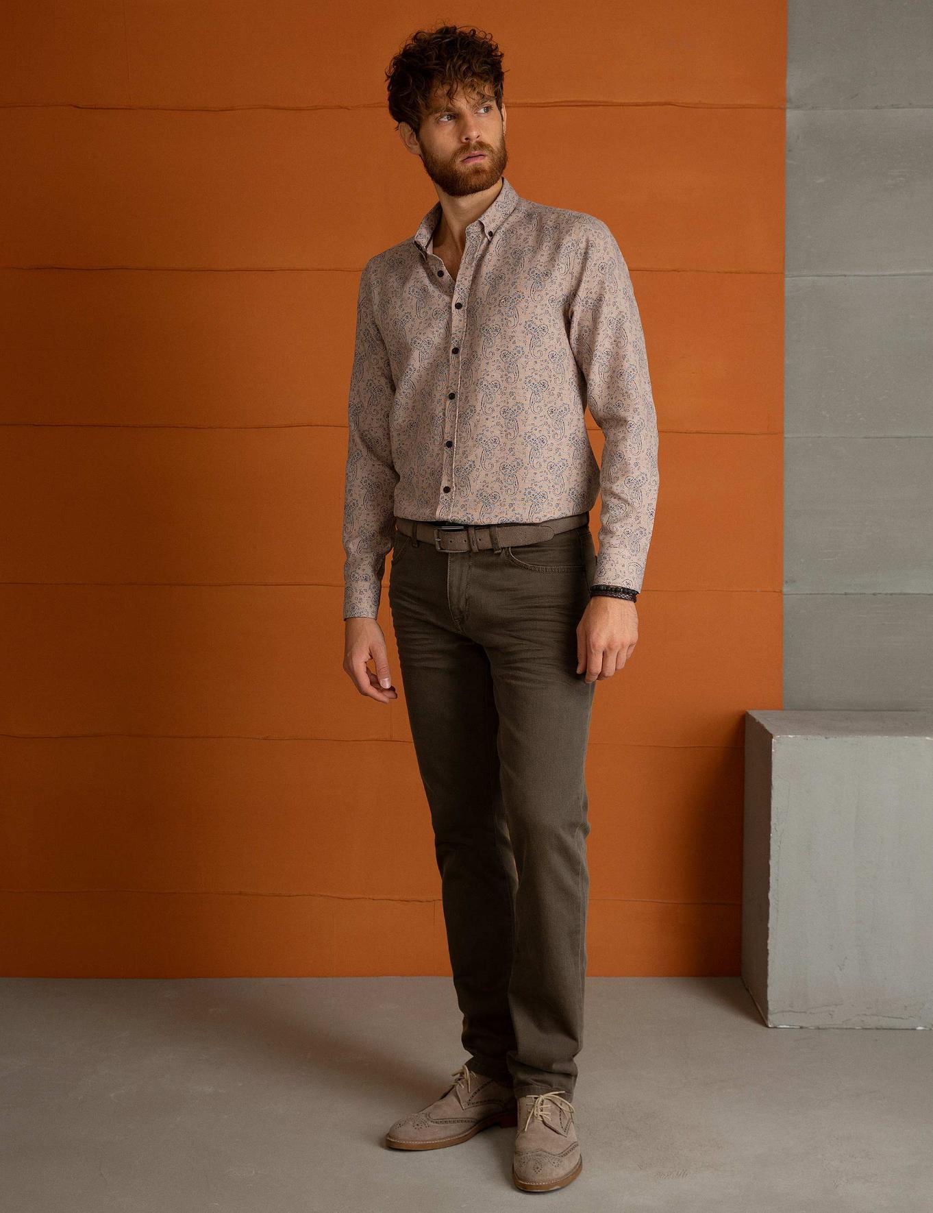 Açık Kahverengi Denim Pantolon