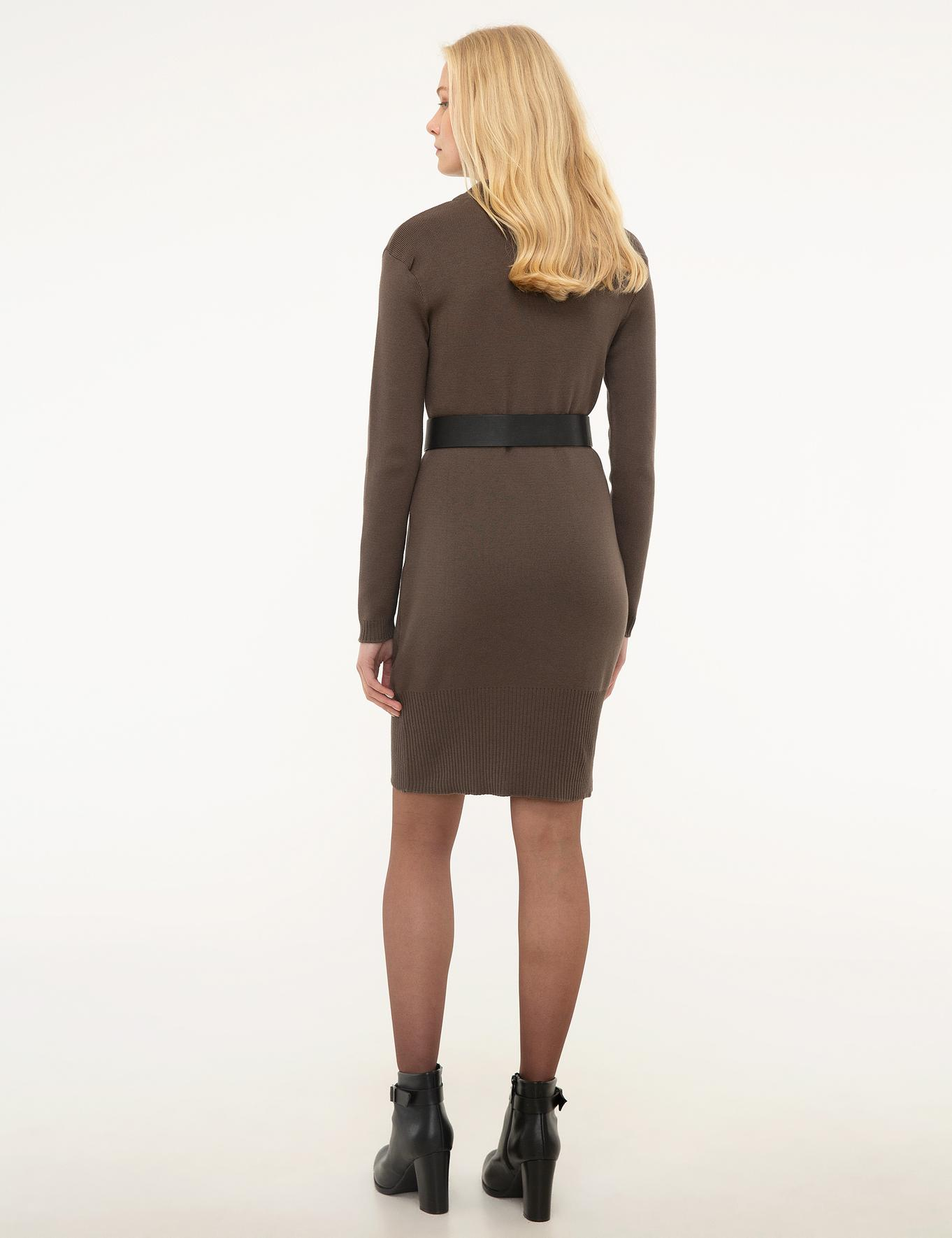 Kahverengi Triko Elbise