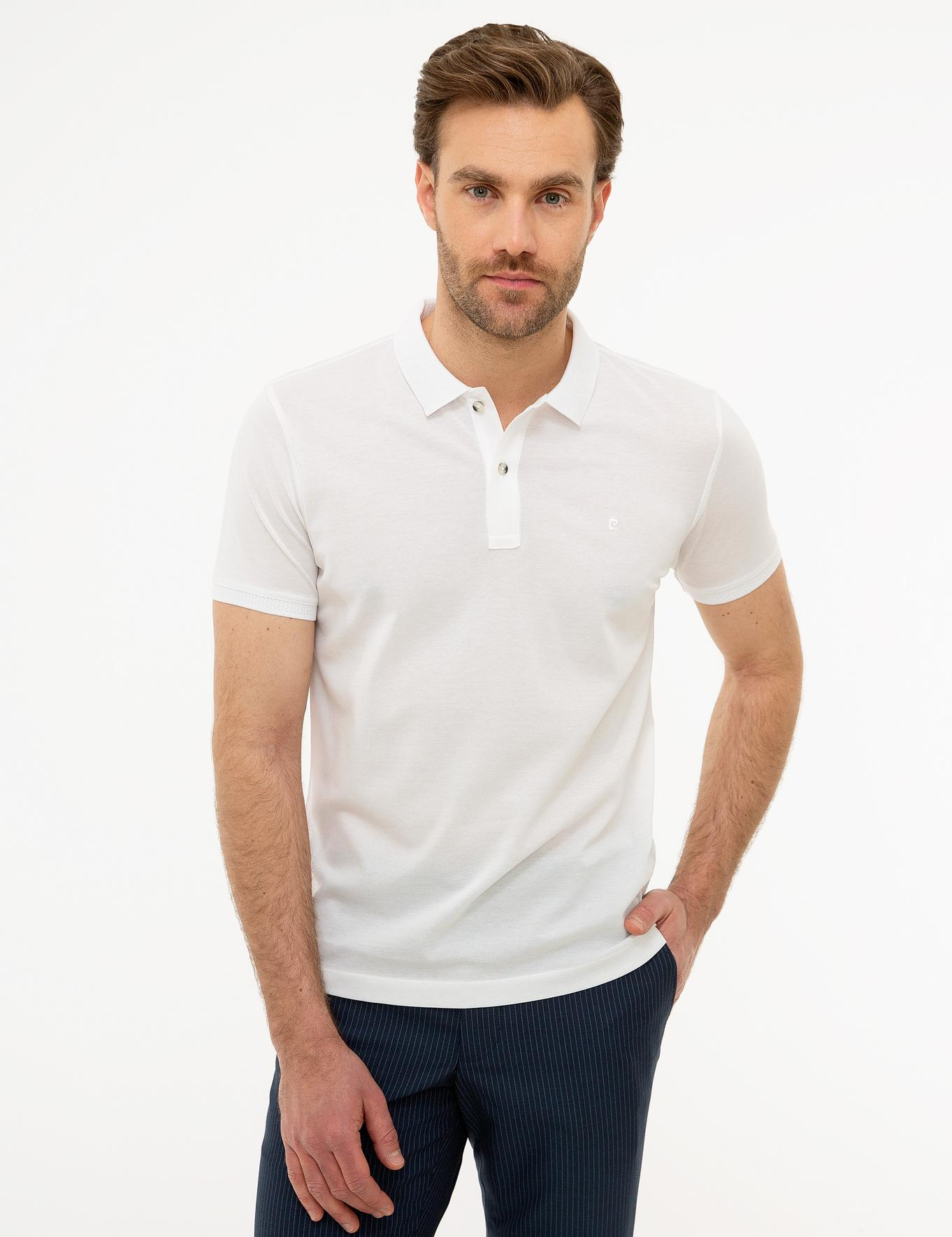 Beyaz Slim Fit Basic Polo Yaka T-Shirt