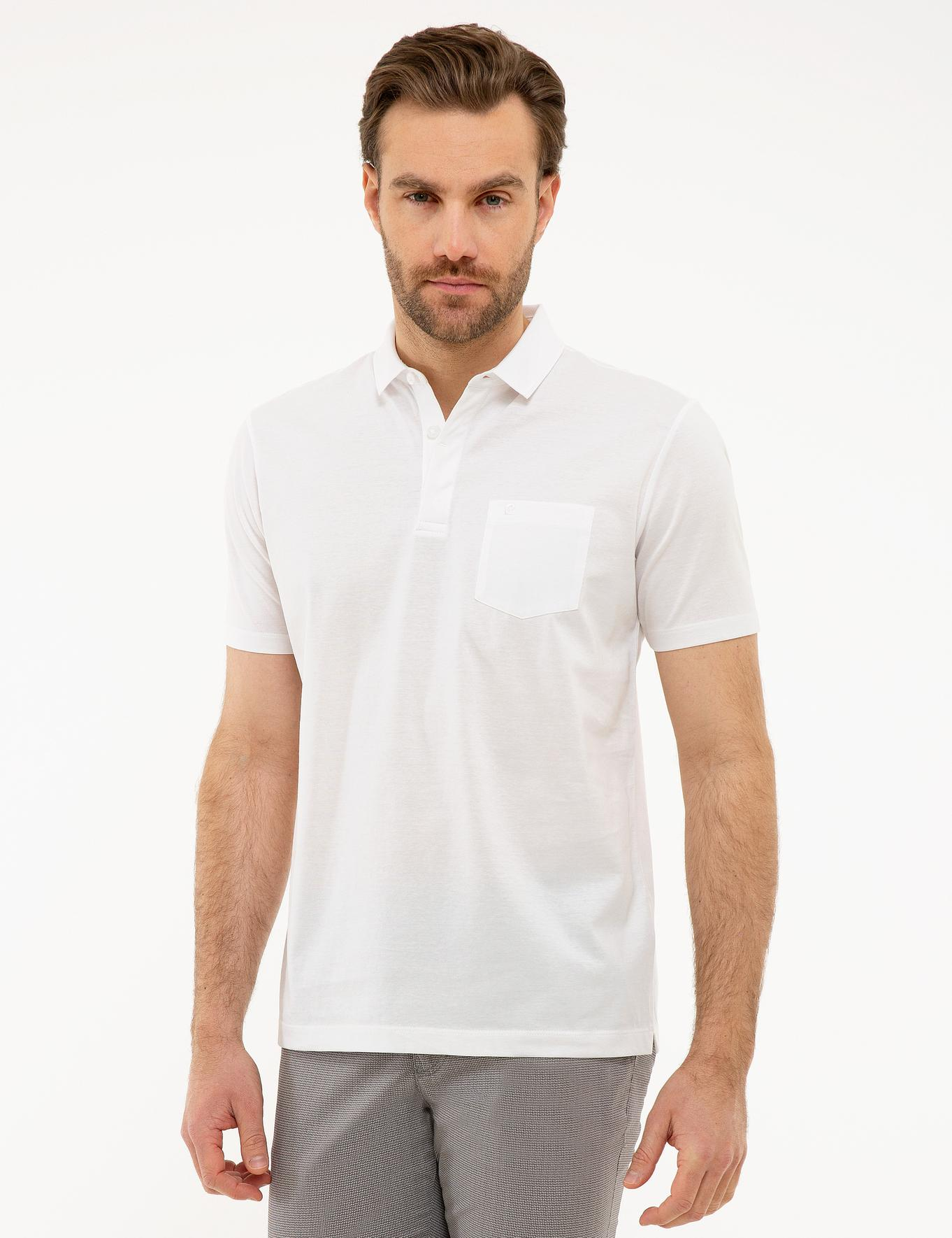 Beyaz Regular Fit Merserize Polo Yaka T-Shirt