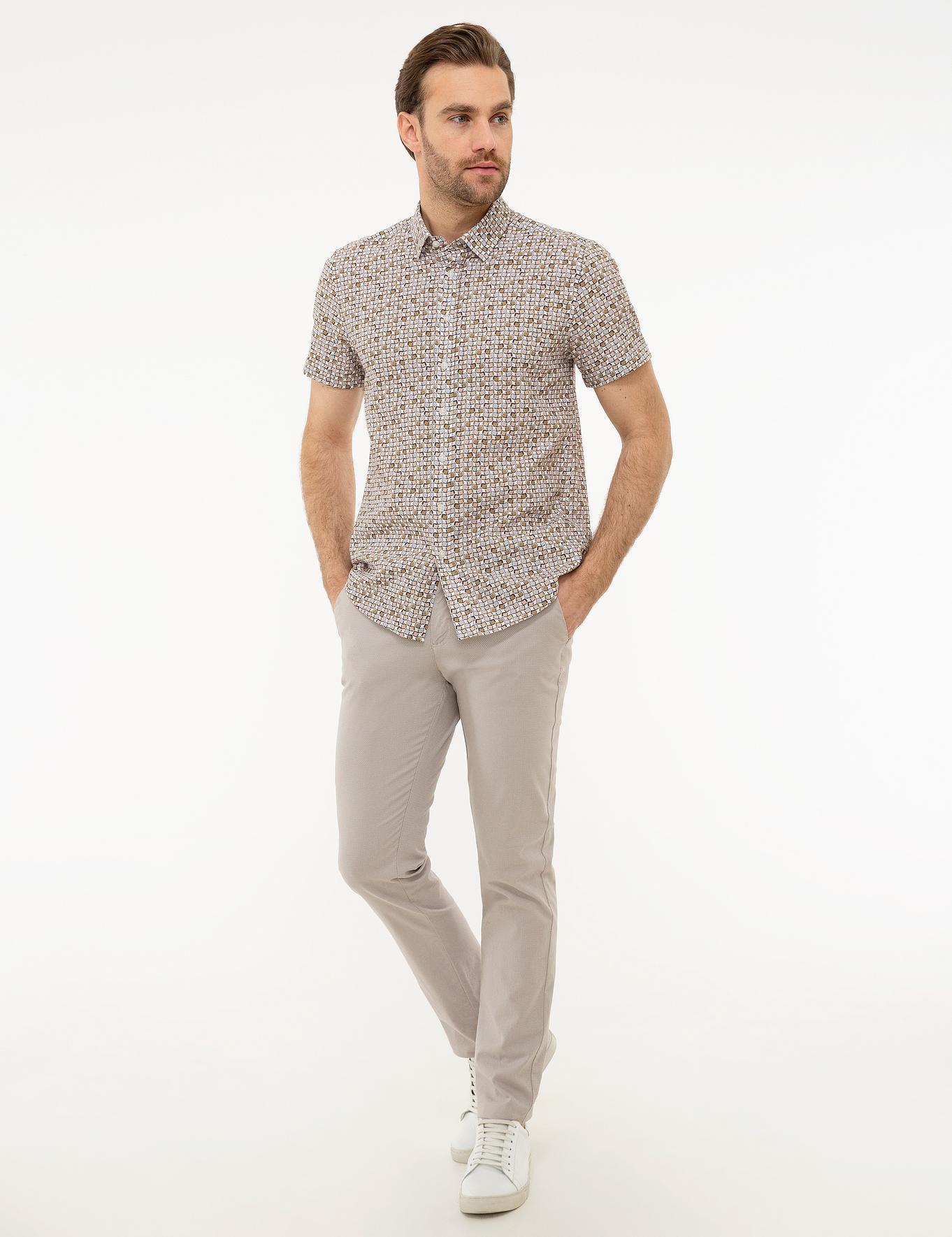 Haki Slim Fit Kısa Kollu Gömlek