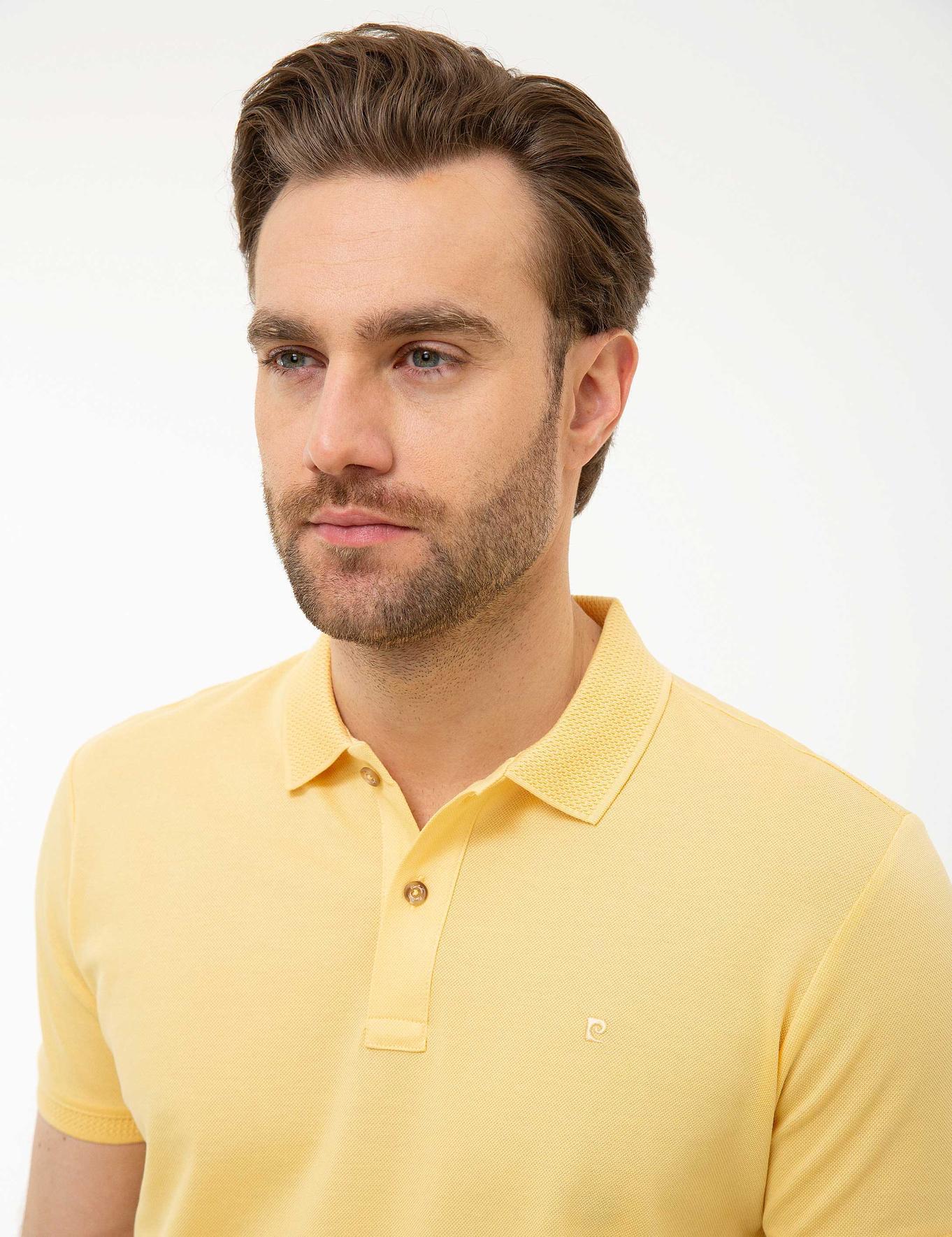 Sarı Slim Fit Merserize Polo Yaka T-Shirt