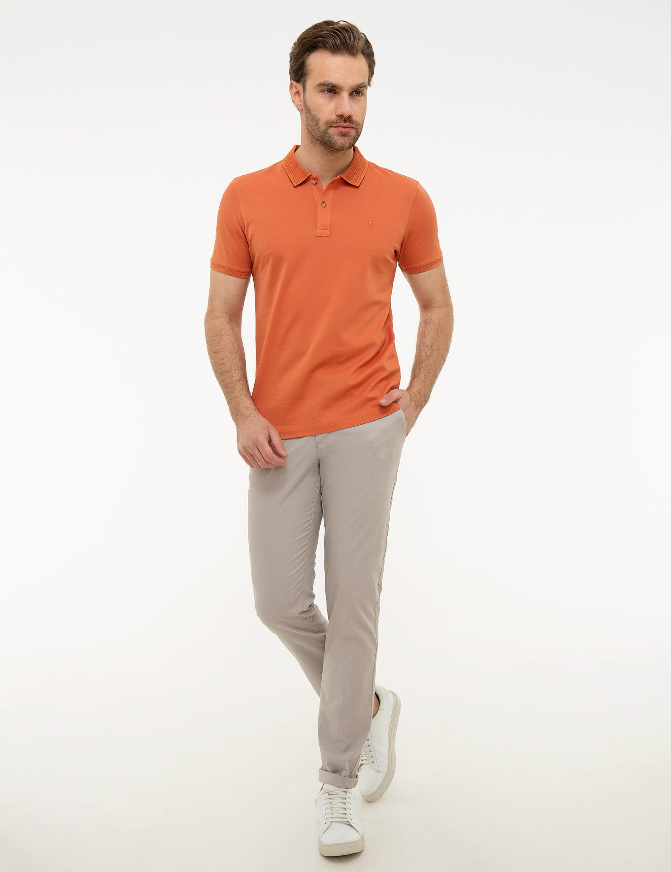 Turuncu Slim Fit Merserize Polo Yaka T-Shirt