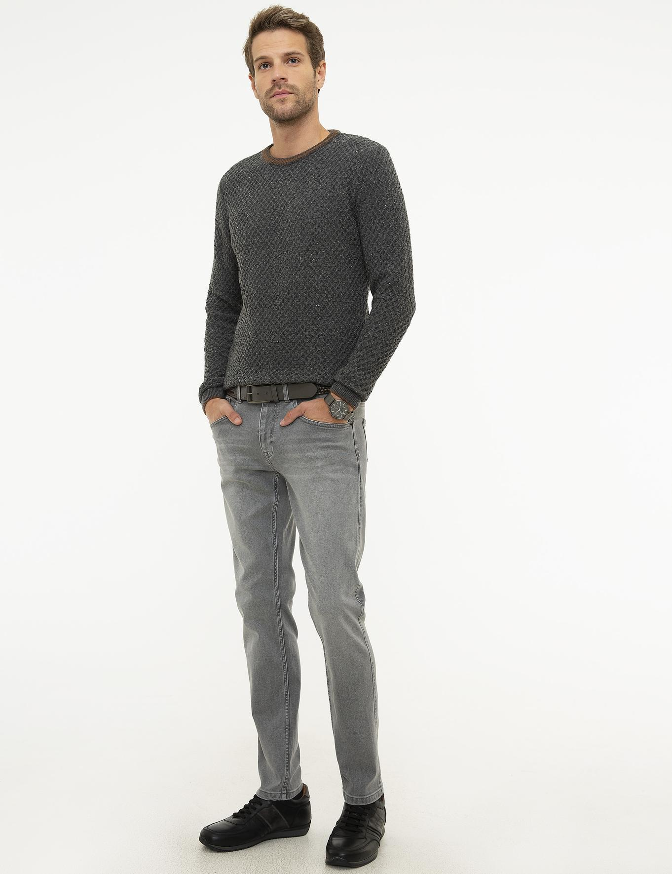 Gri Slim Fit Denim Pantolon