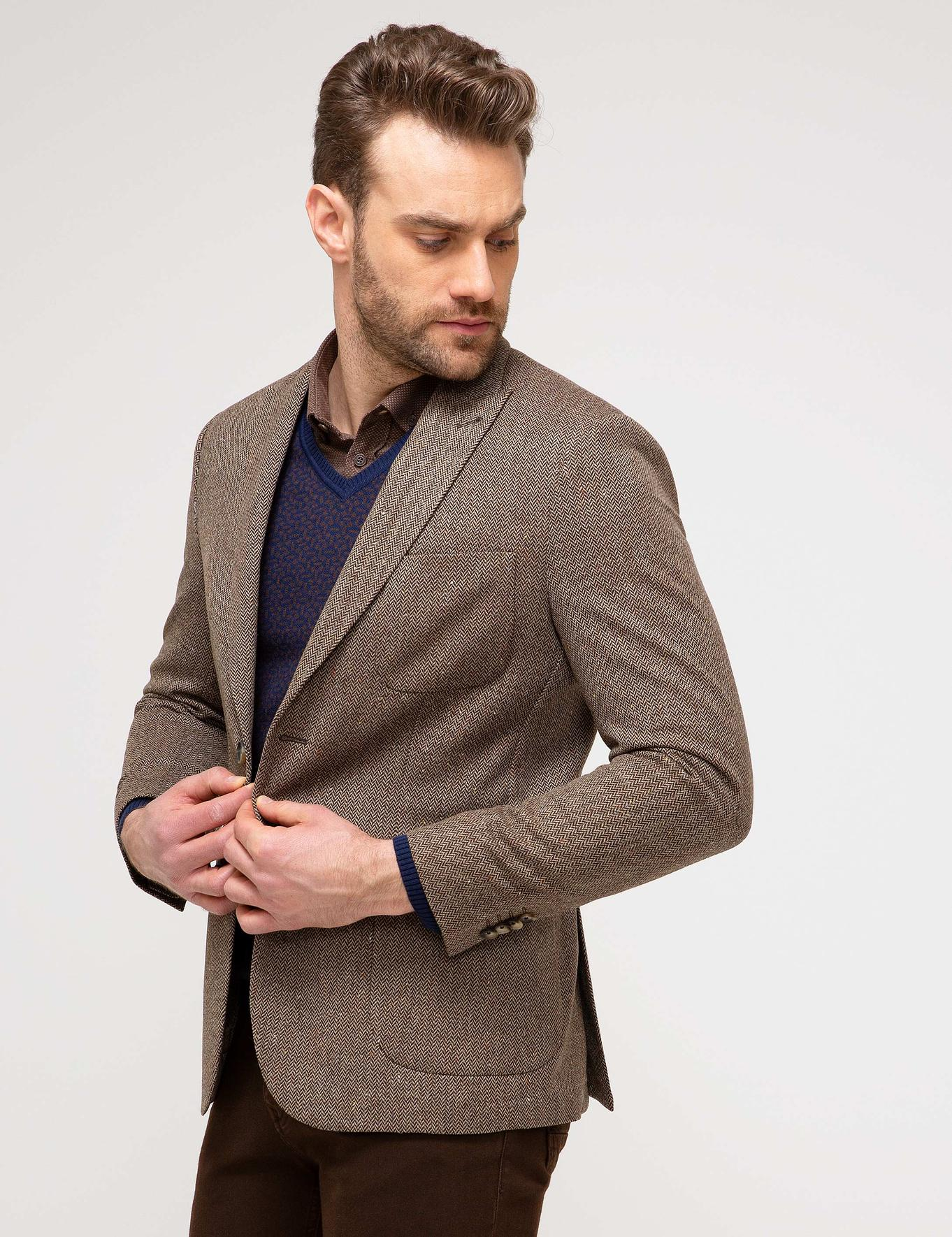 Kahverengi Slim Fit Ceket
