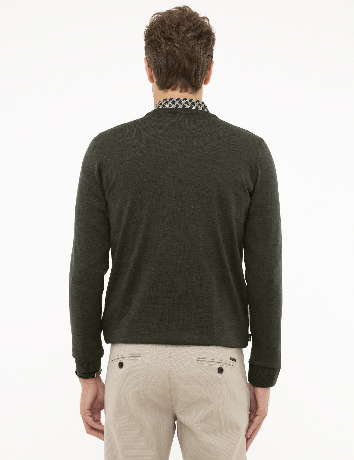 Yeşil Slim Fit V Yaka Basic Triko Kazak