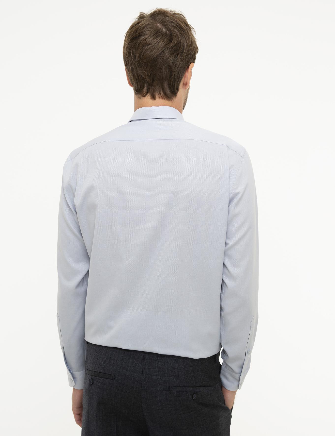 Gri Regular Fit Armürlü Gömlek