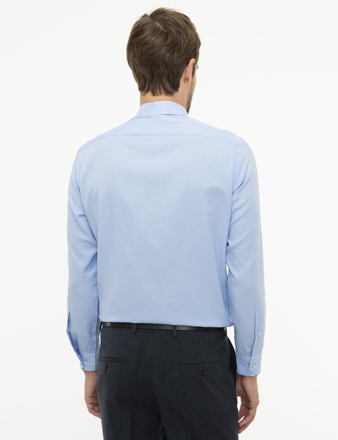 Açık Mavi Regular Fit Armürlü Gömlek