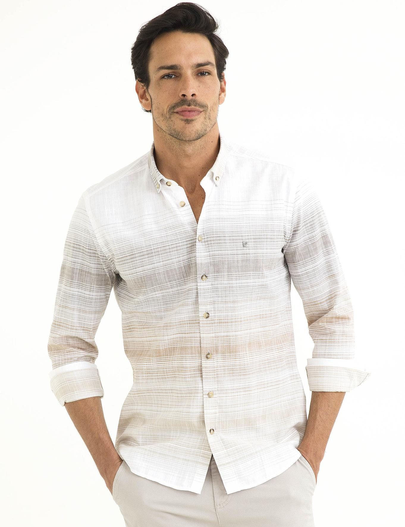 Turuncu Detaylı Slim Fit Gömlek