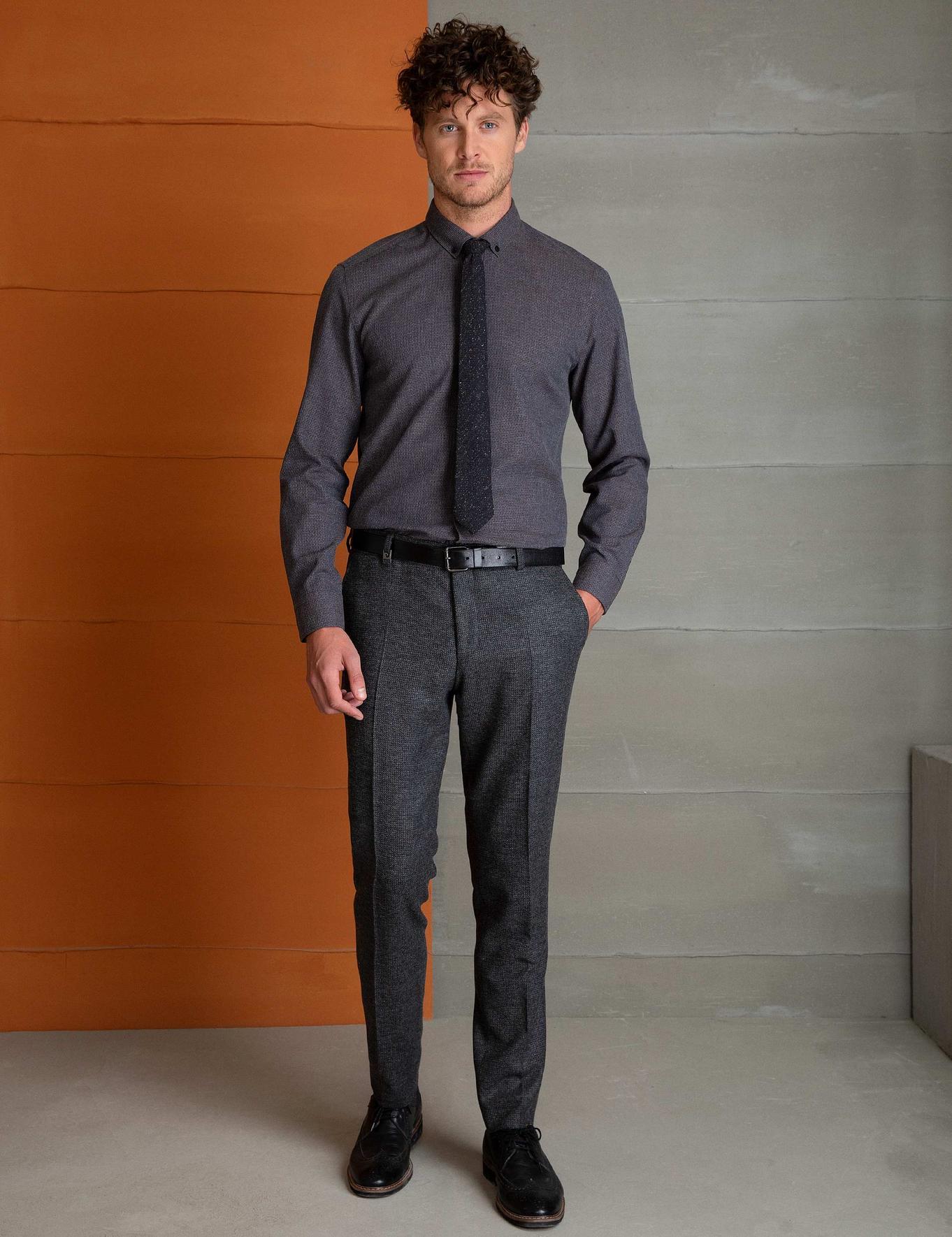 Koyu Kahverengi Slim Fit Gömlek