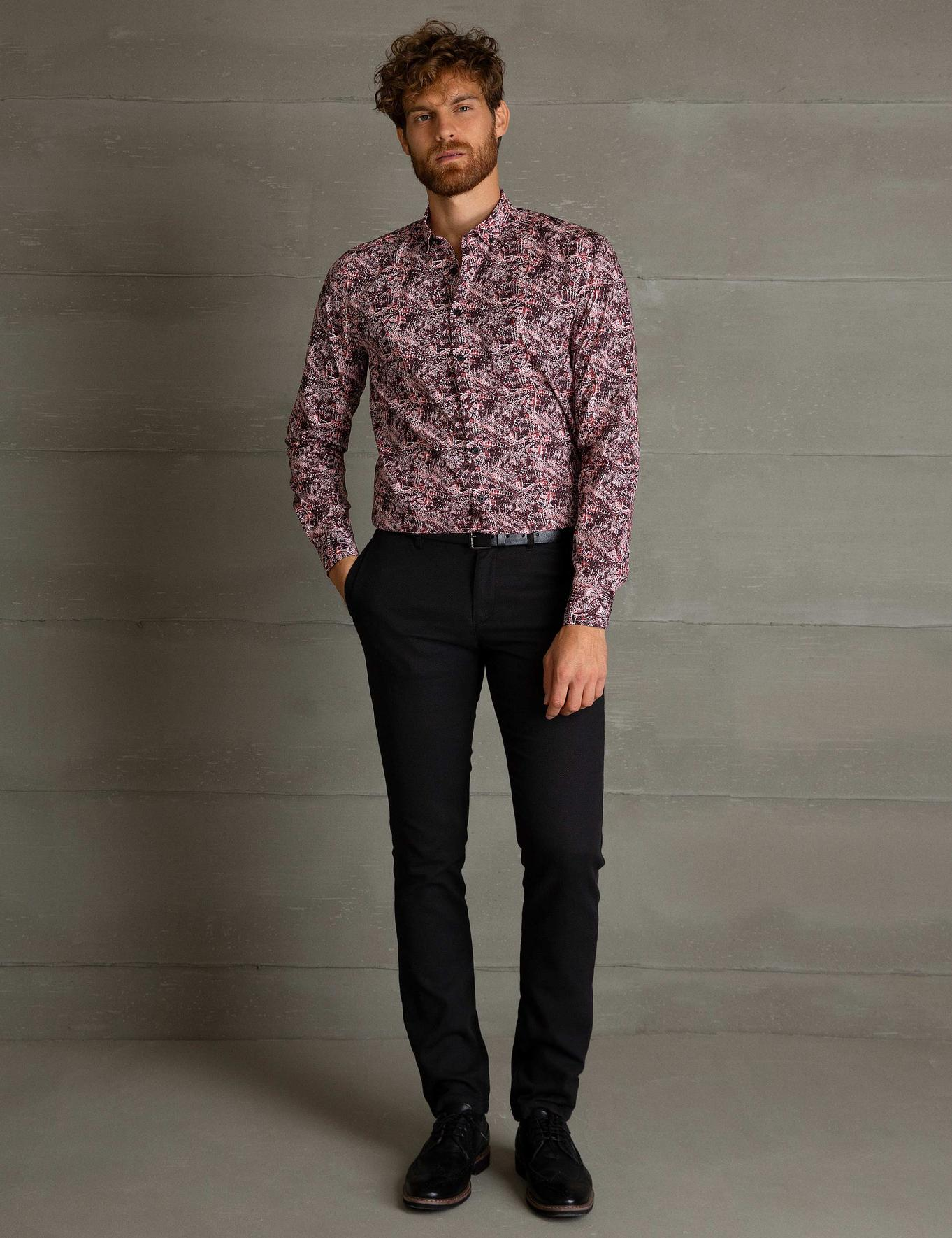 Bordo Slim Fit Gömlek