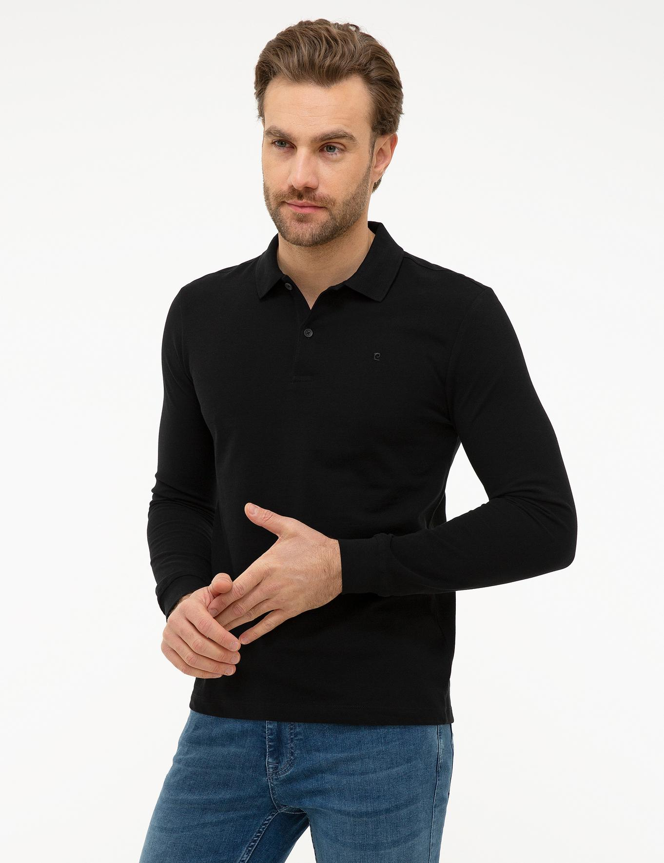 Siyah Slim Fit Polo Yaka Sweatshirt