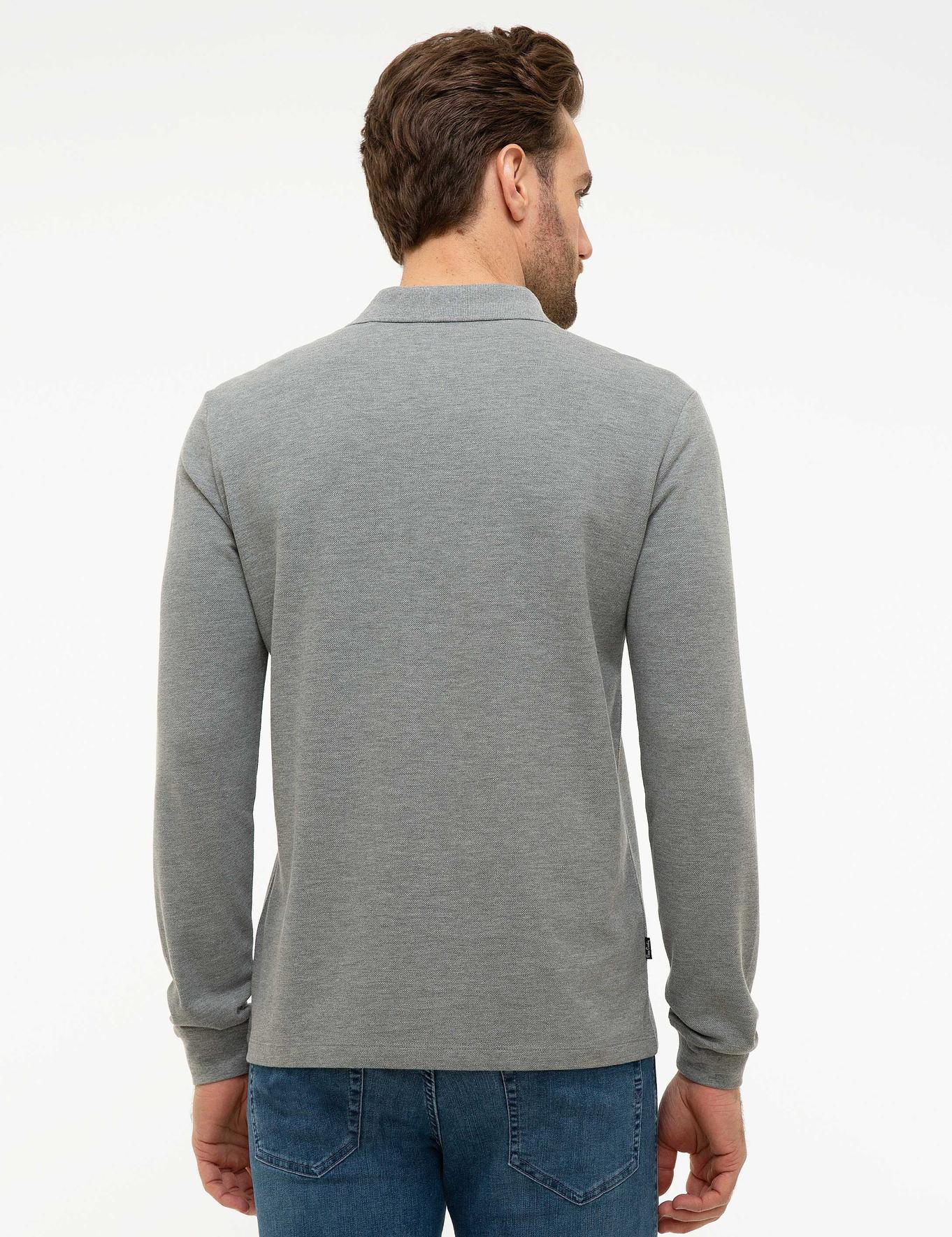 Gri Melanj Slim Fit Polo Yaka Sweatshirt