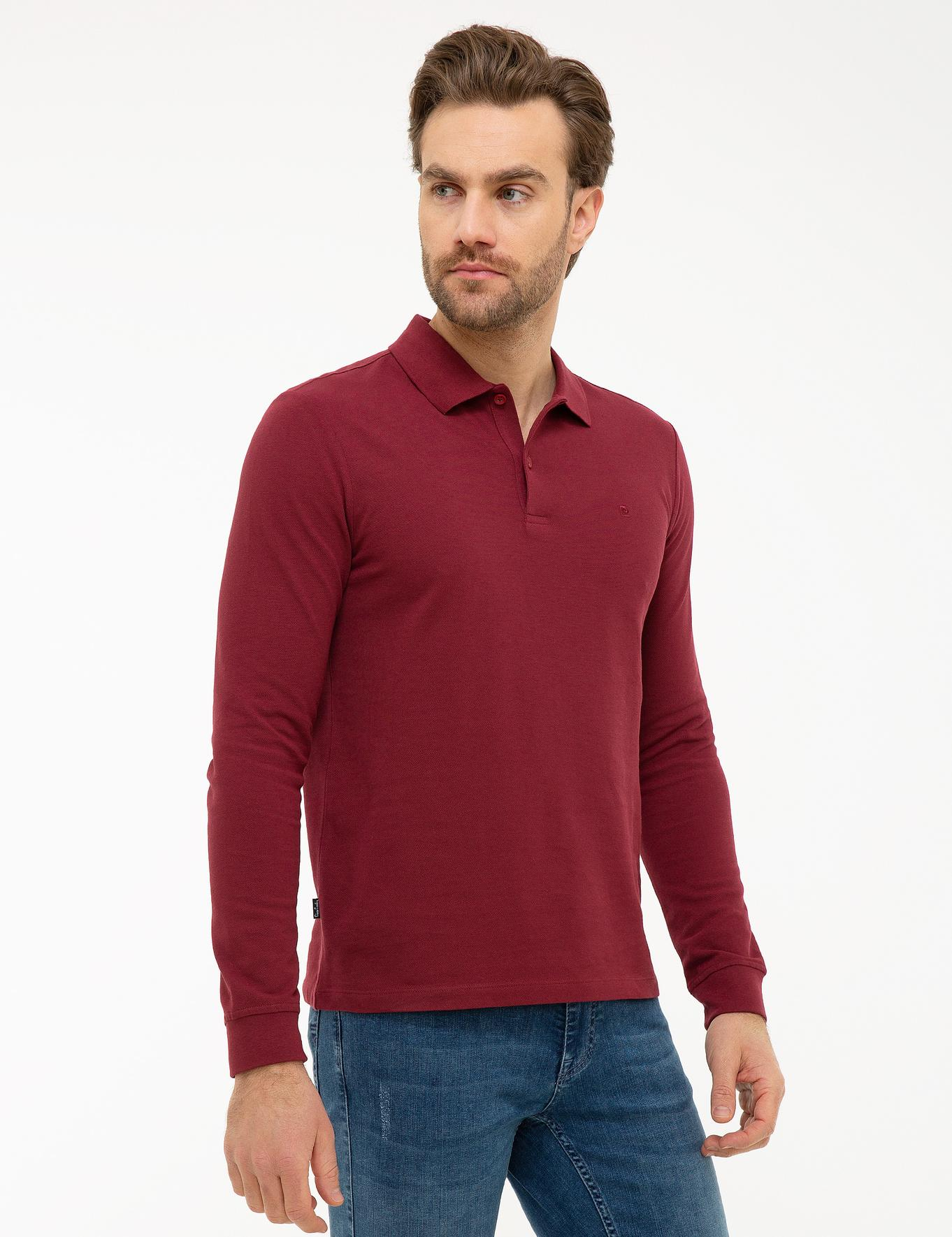 Bordo Slim Fit Polo Yaka Sweatshirt