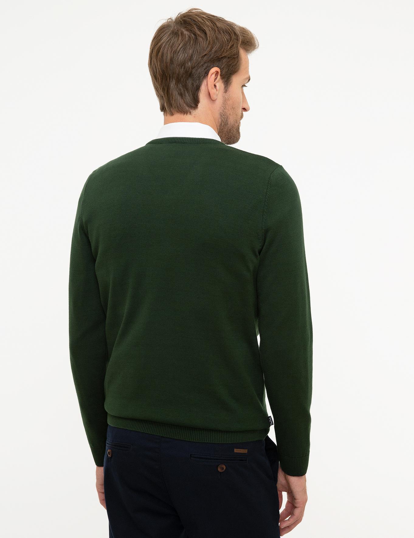 Koyu Yeşil Slim Fit V Yaka Basic Triko Kazak