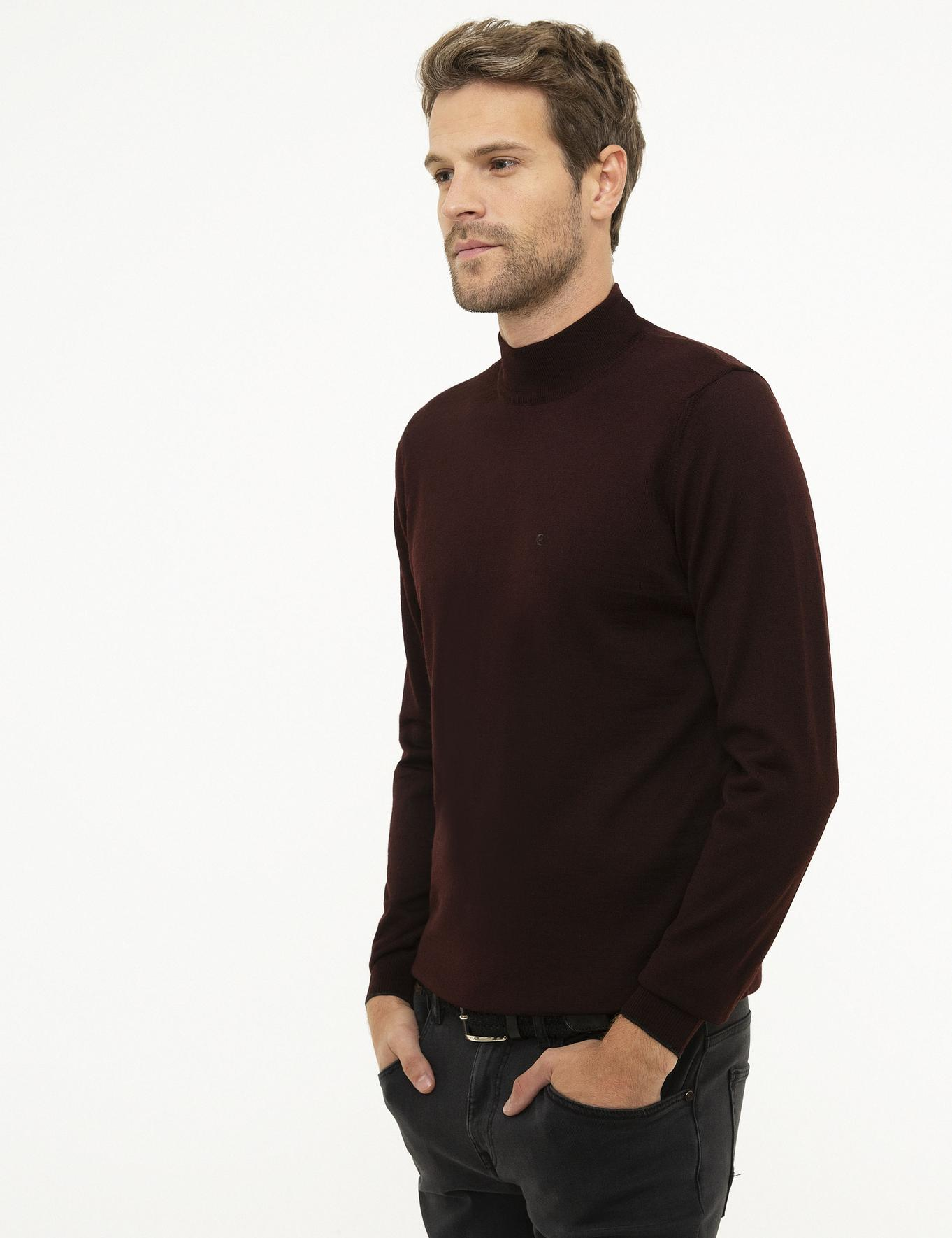 Bordo Slim Fit Basic Triko Kazak