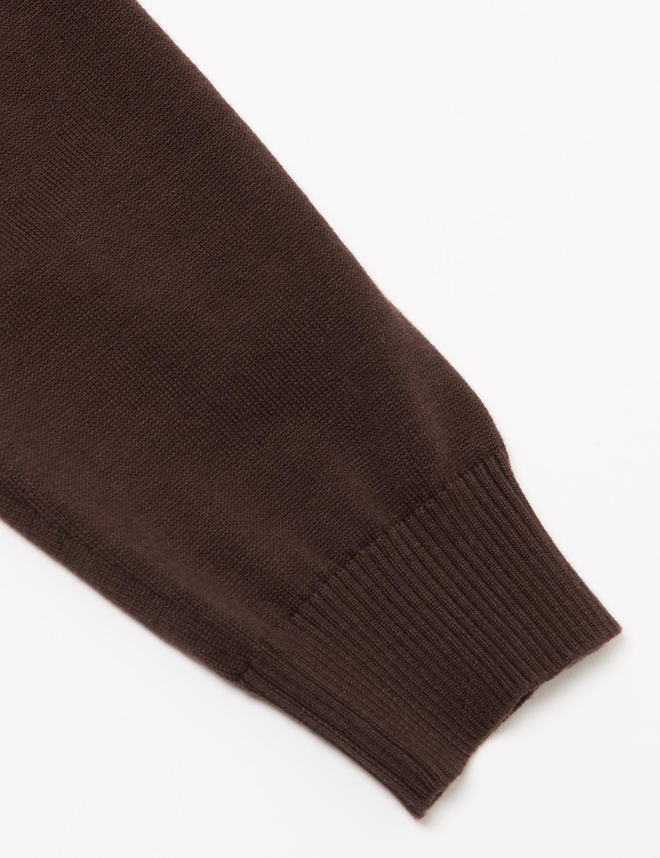 Kahverengi Slim Fit Basic Triko Hırka