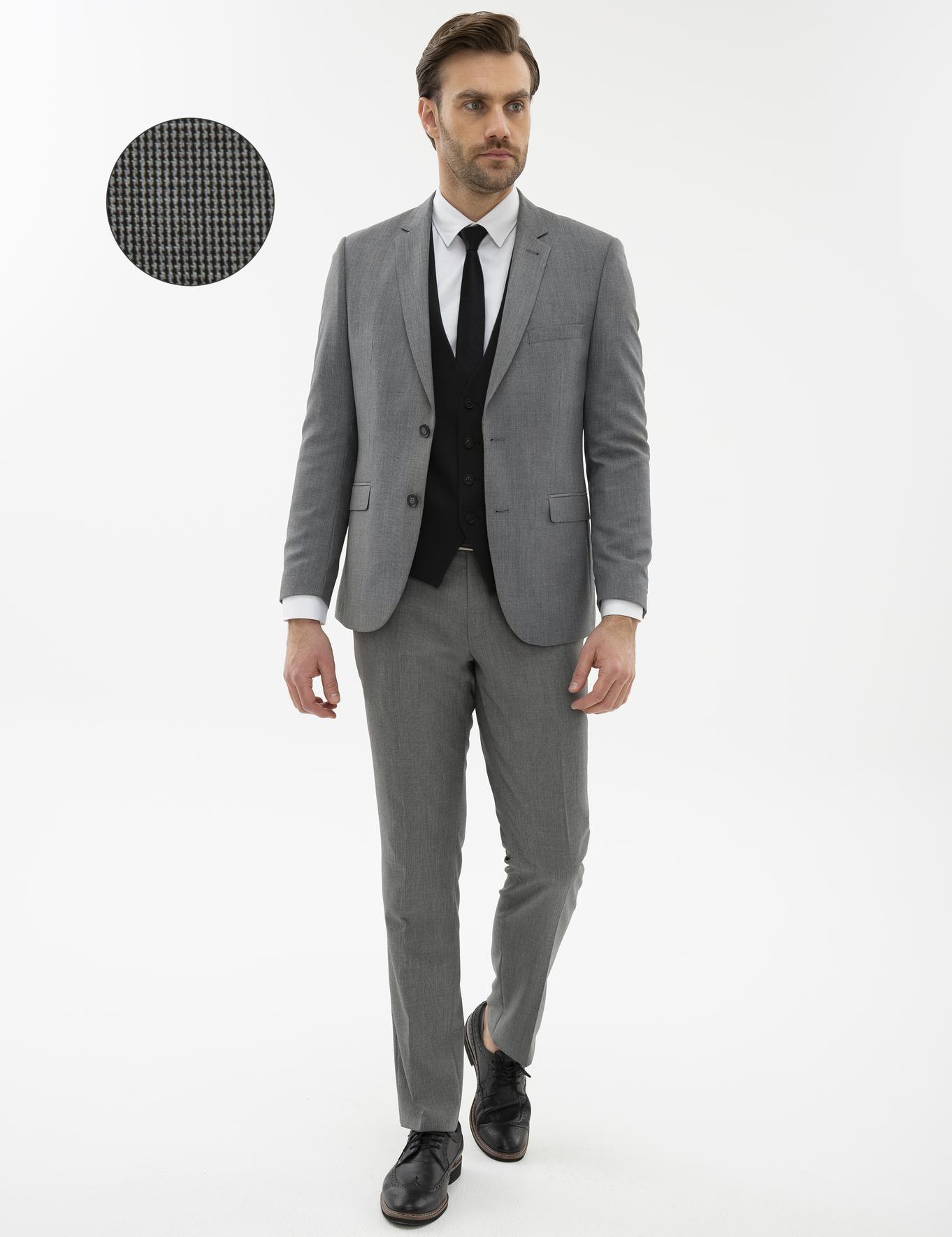 Siyah Slim Fit Yelekli Kombin Takım Elbise