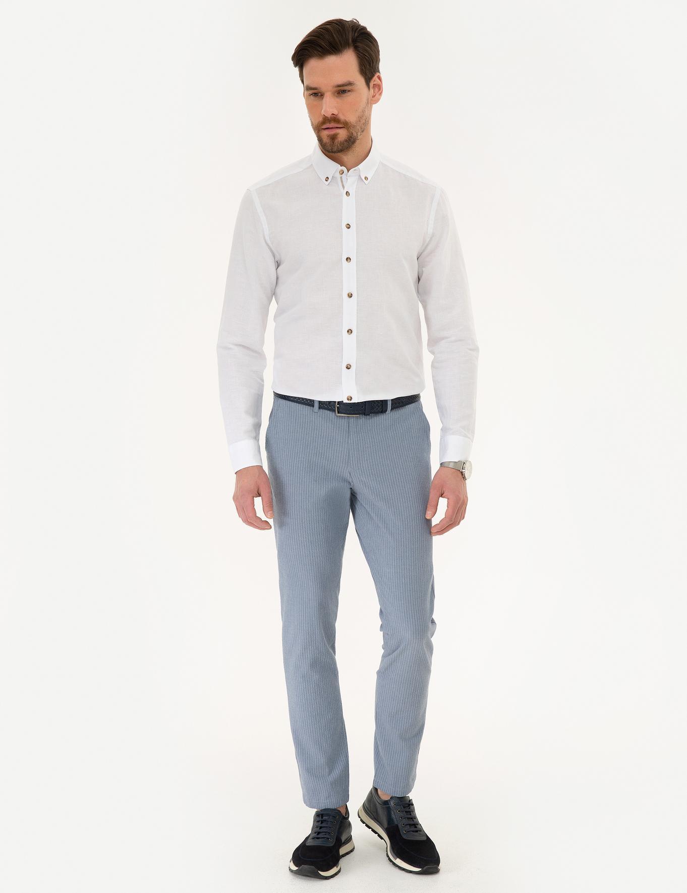 Açık Mavi Slim Fit Chino Pantolon