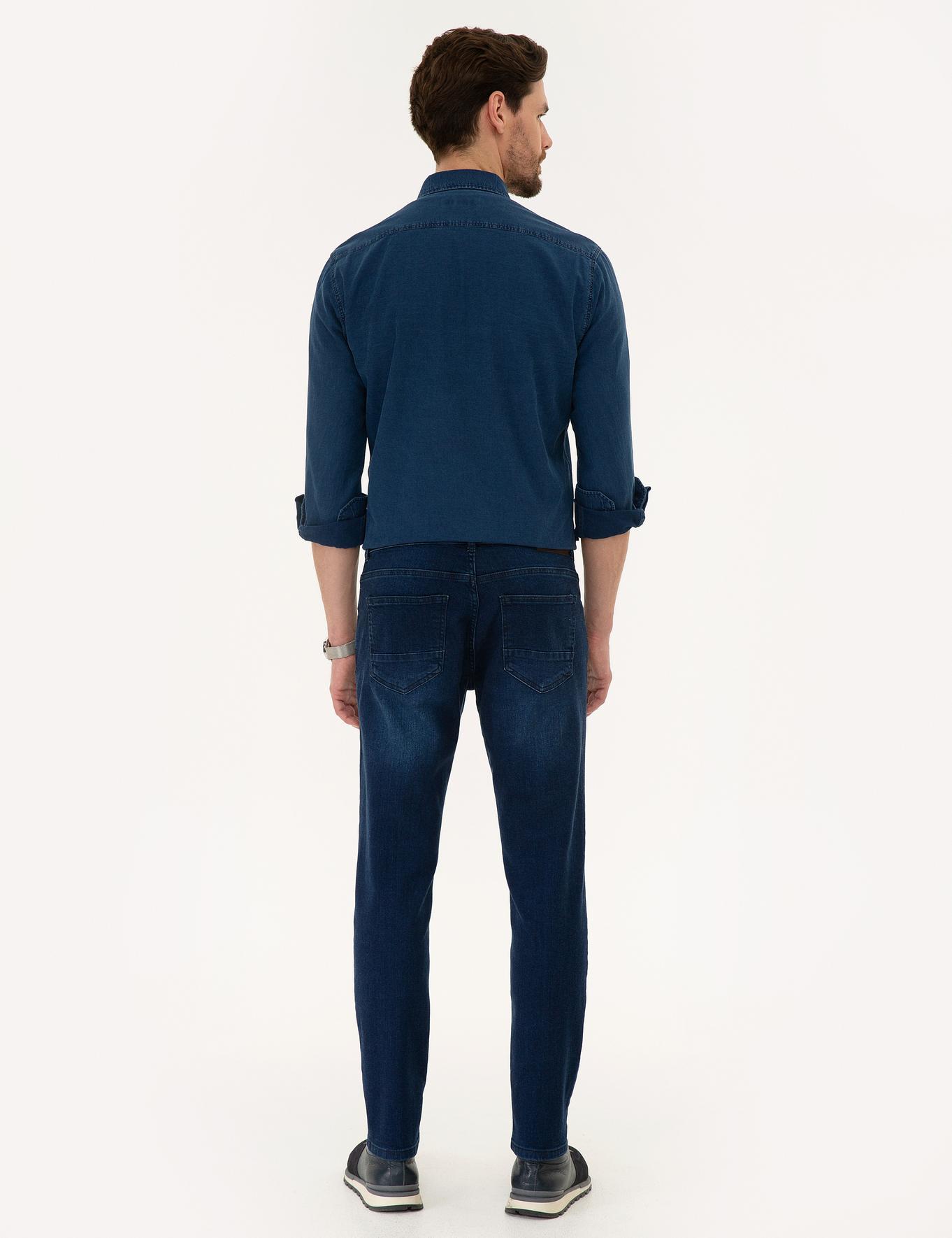 Lacivert Real Slim Fit Denim Pantolon