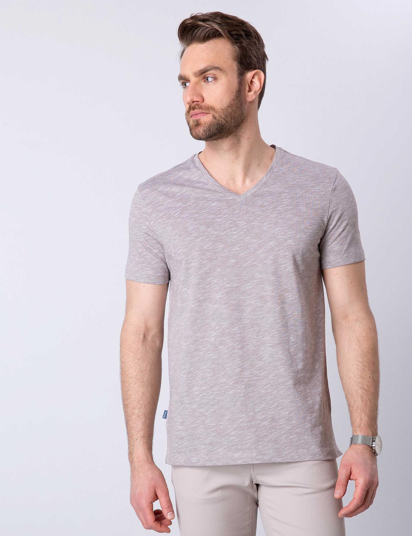 Vizon Slim Fit V Yaka T-Shirt