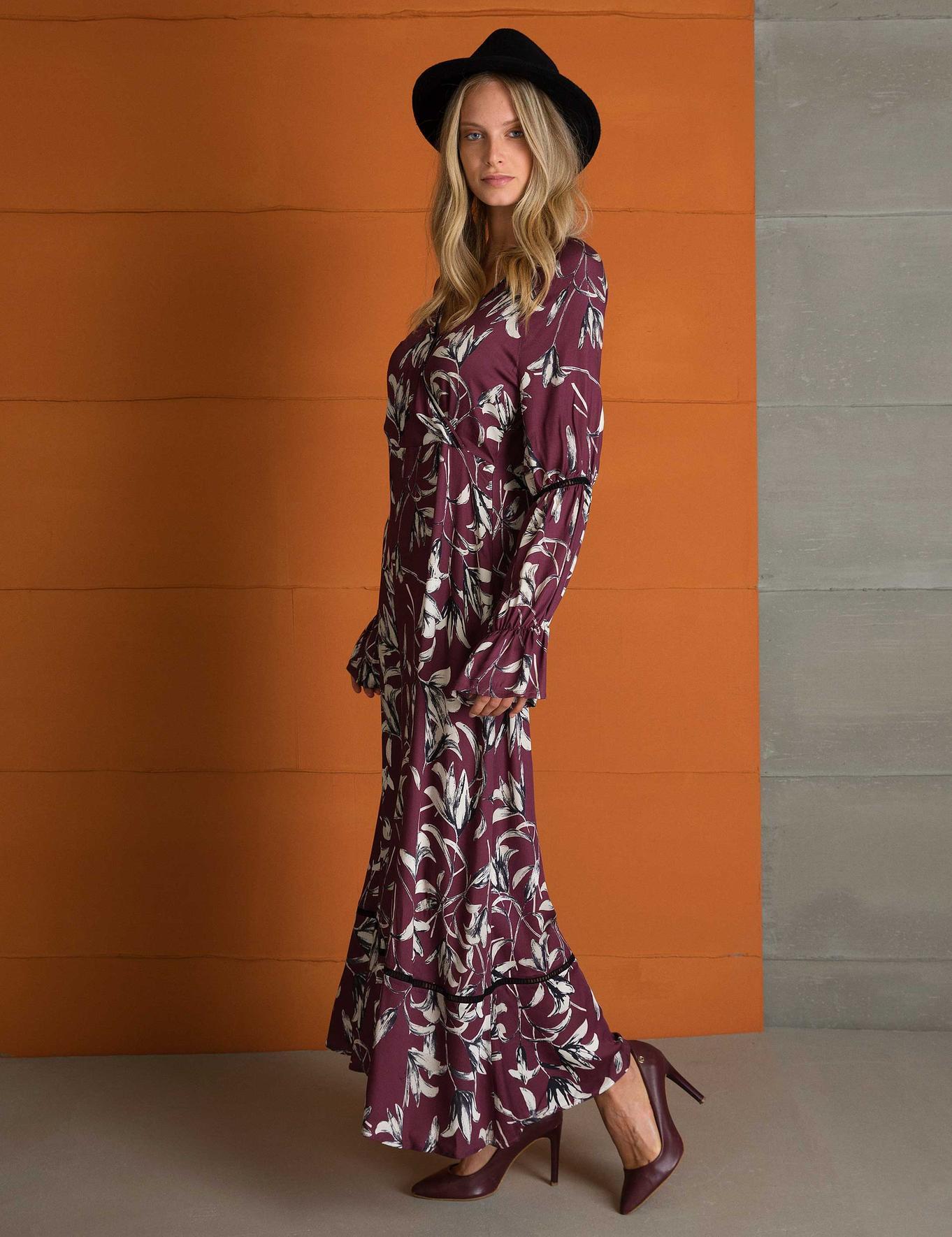 Bordo Dokuma Elbise
