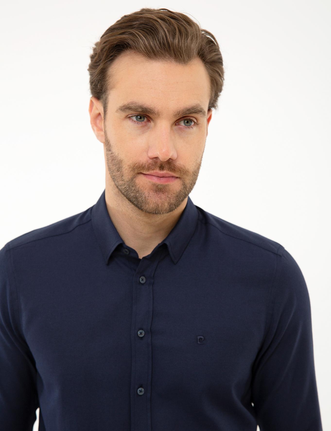 Lacivert Slim Fit Oxford Gömlek