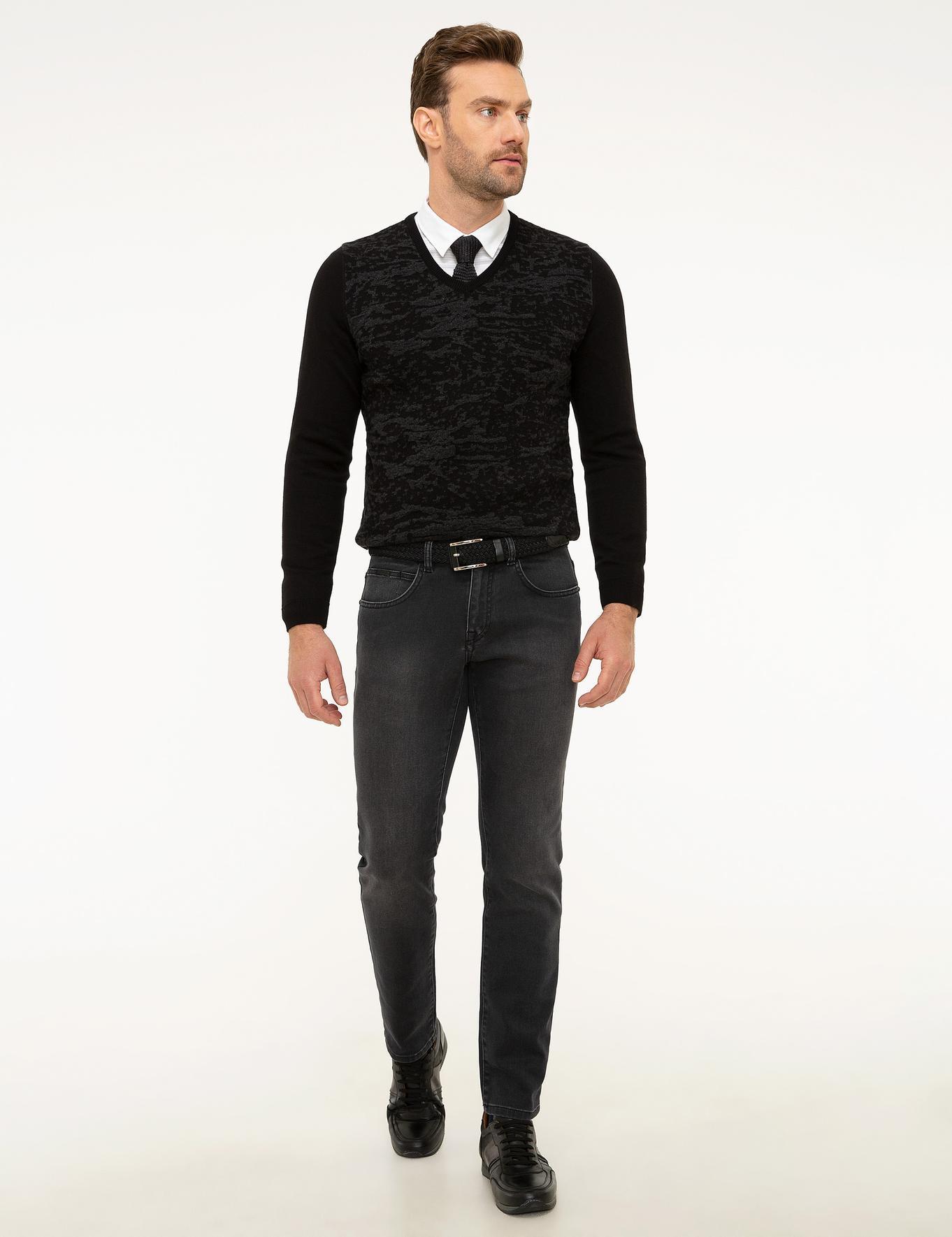 Antrasit Slim Fit Denim Pantolon