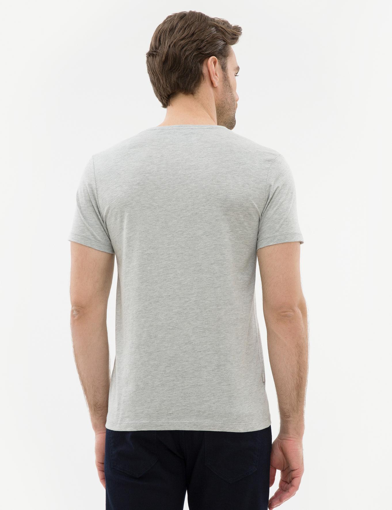 Açık Gri Melanj Slim Fit V Yaka T-Shirt