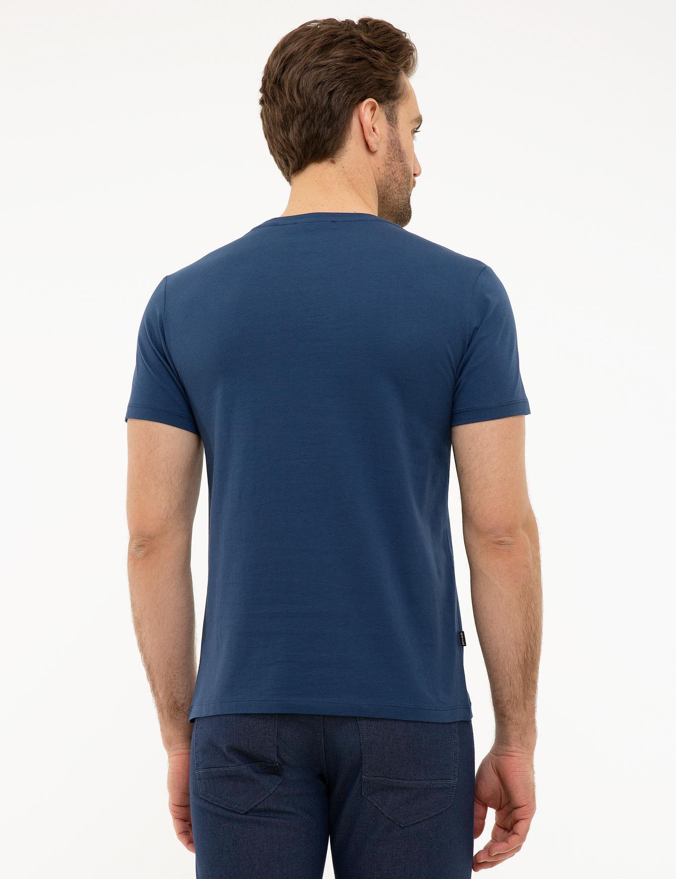 Koyu Mavi Slim Fit Bisiklet Yaka T-Shirt