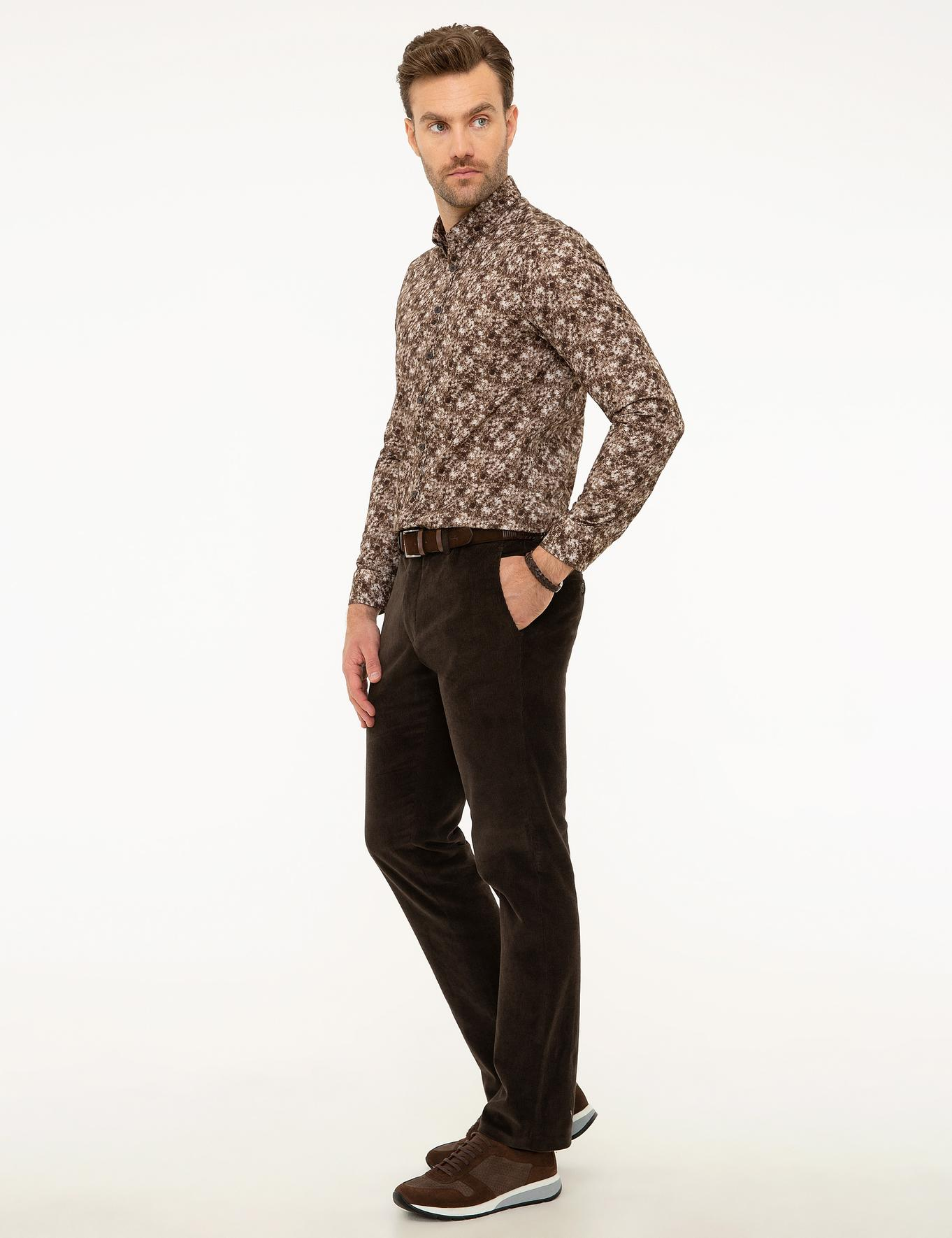 Kahverengi Slim Fit Kadife Pantolon