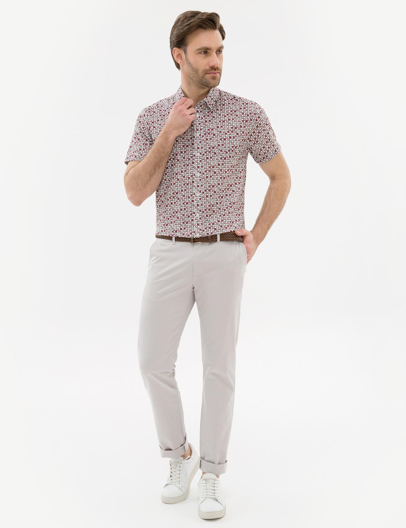 Bordo Slim Fit Kısakol Gömlek
