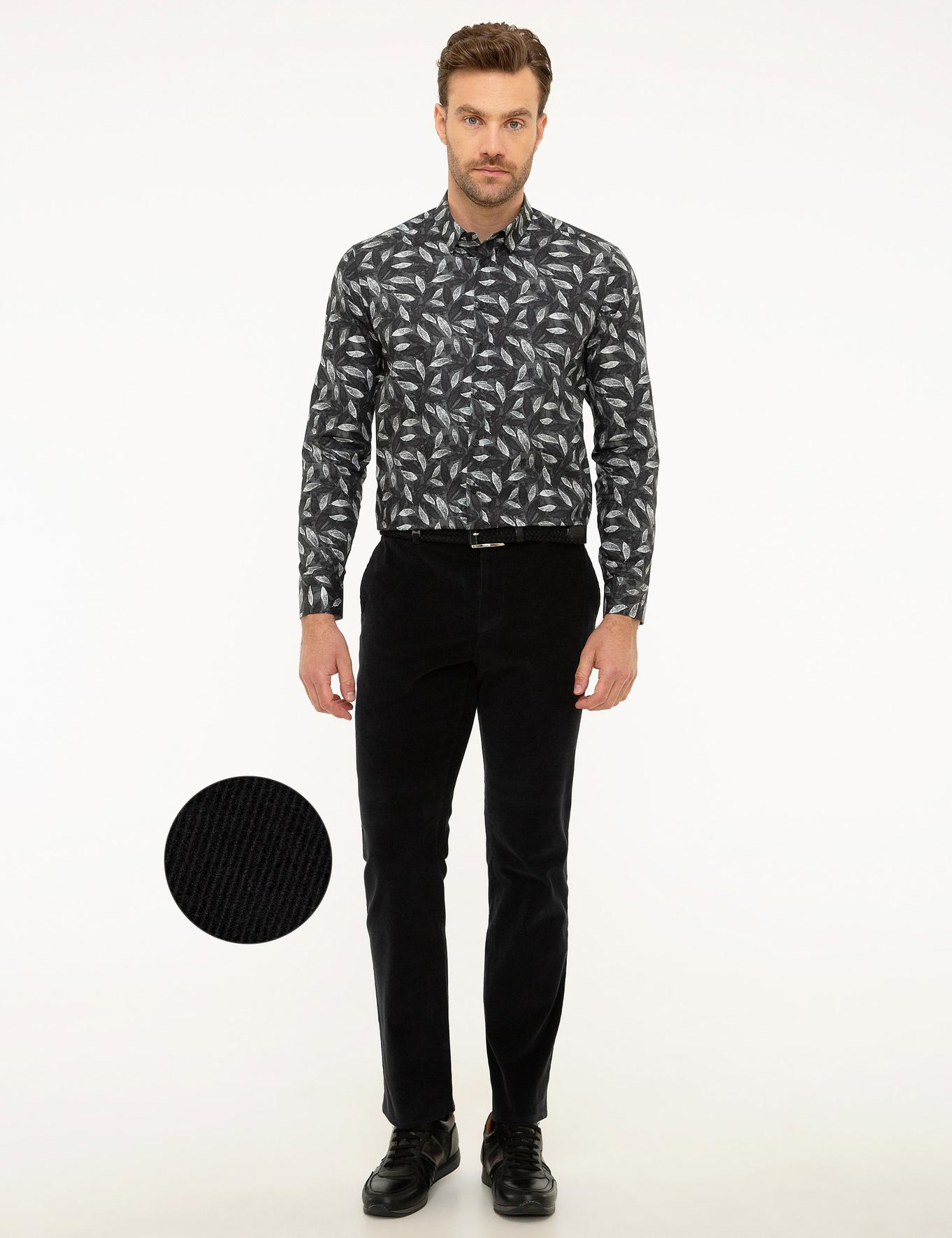 Siyah Slim Fit Kadife Pantolon