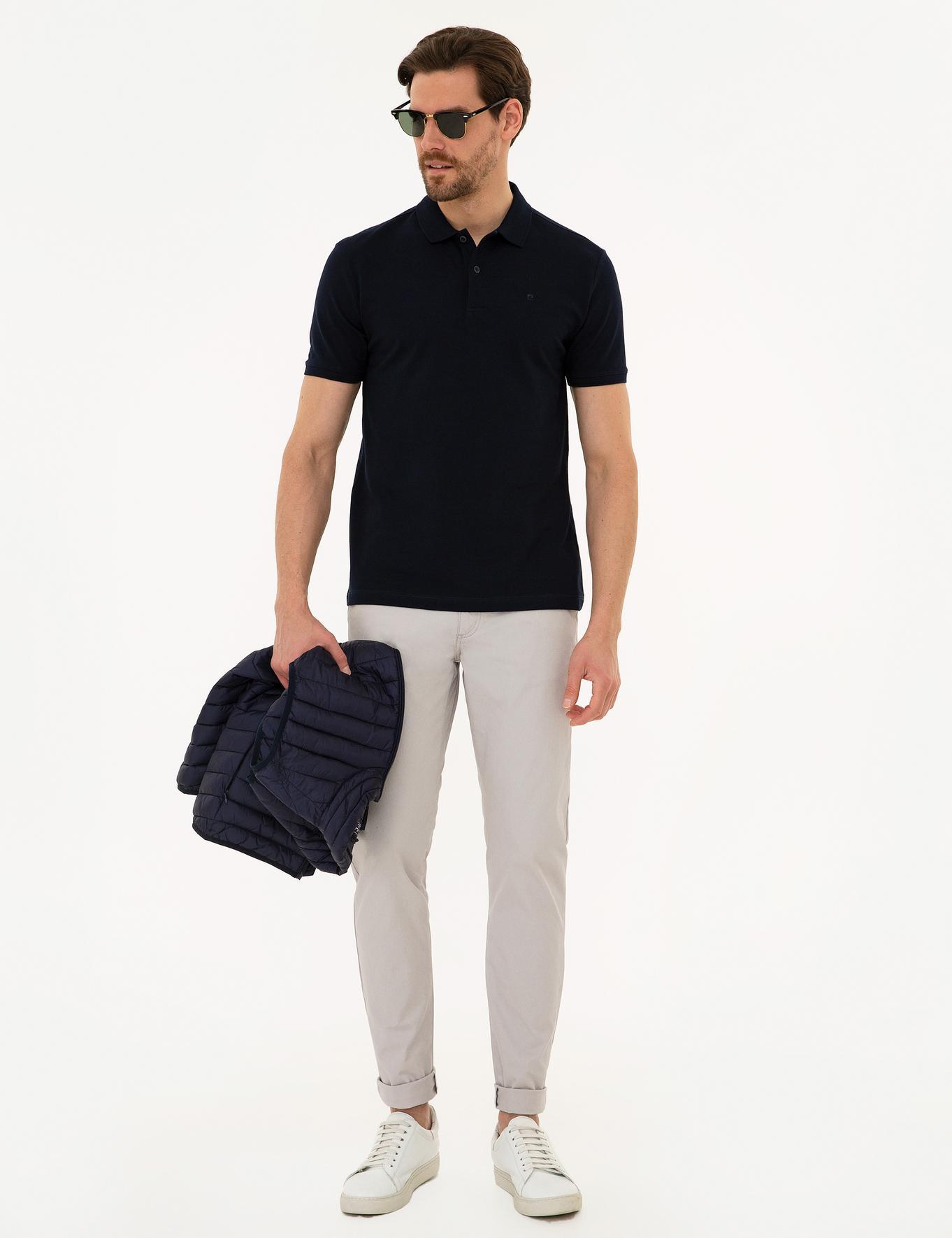Koyu Lacivert Slim Fit Polo Yaka T-Shirt