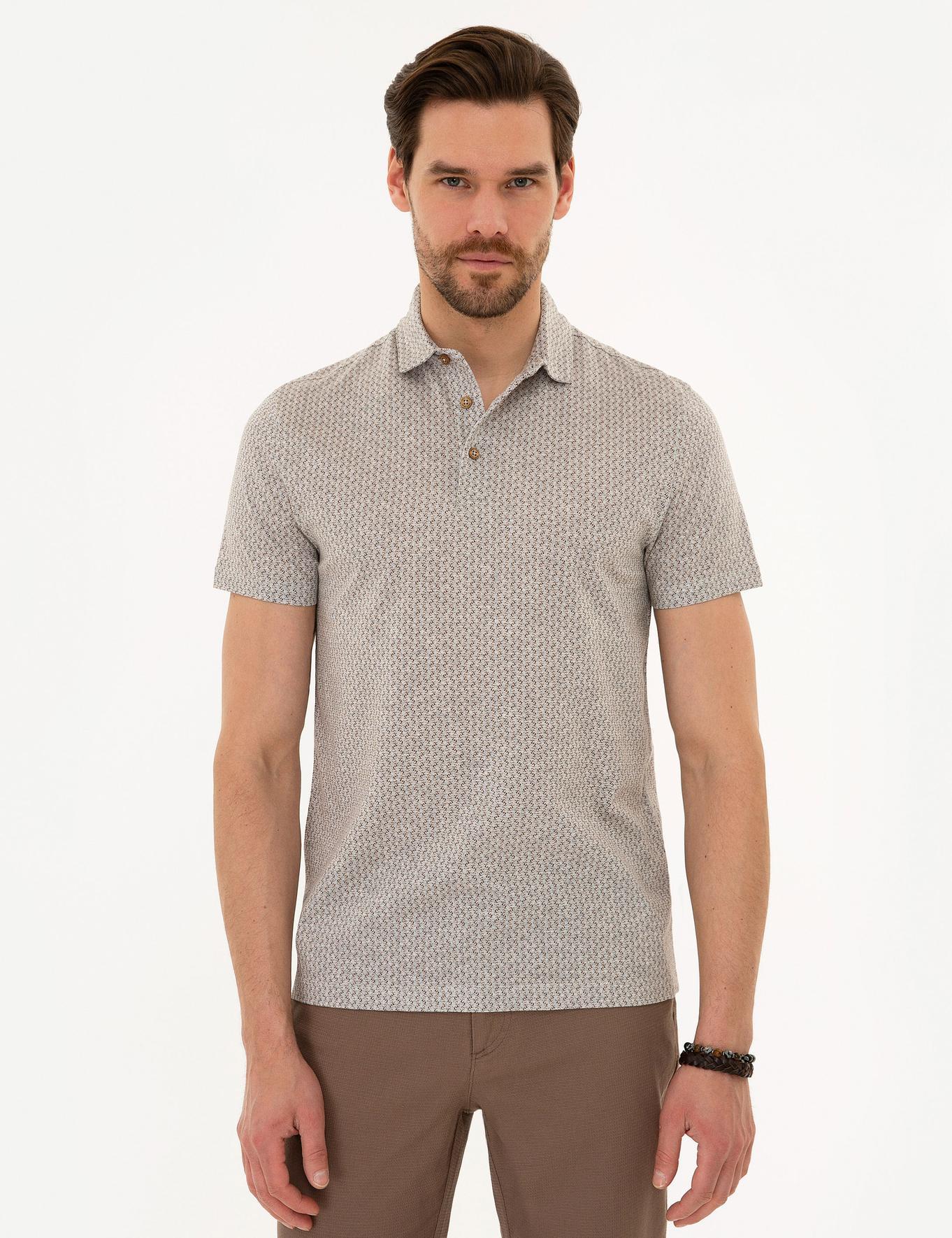 Açık Kahverengi Slim Fit Merserize Polo Yaka T-Shirt